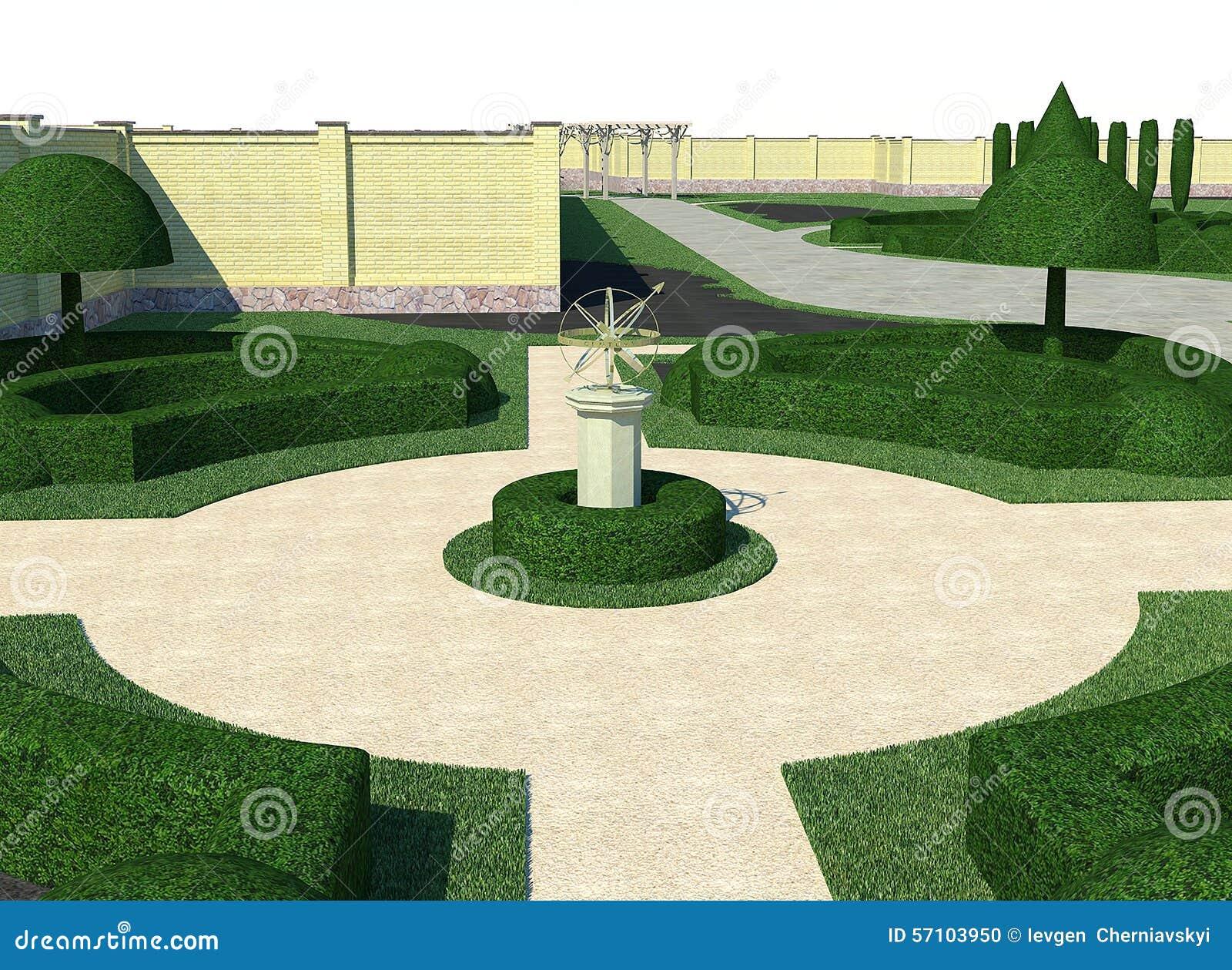 Landscaping classic style topiary 3d render stock for Garden design visualiser