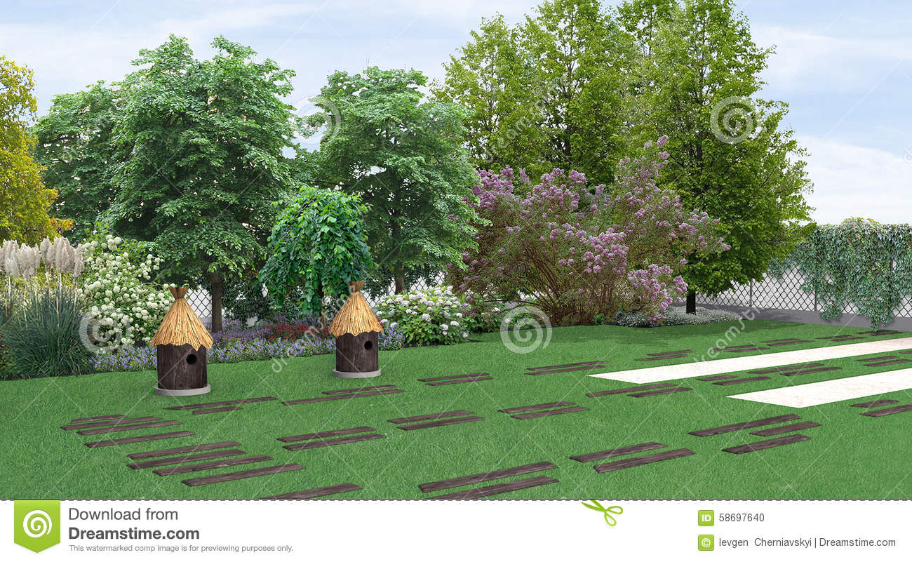 Landscaping country style garden planting of greenery 3d for Country style garden designs
