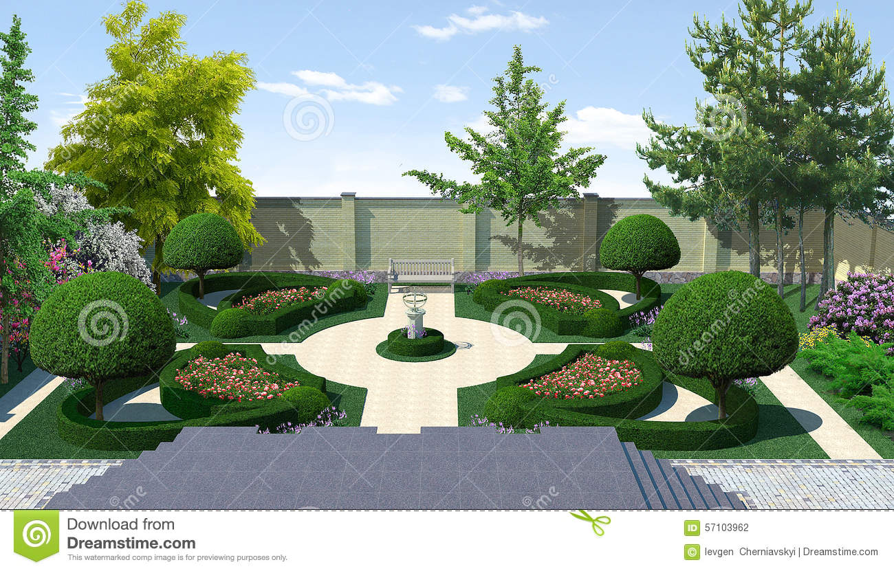 Landscaping courtyard classic style 3d render stock for Garden design graphics