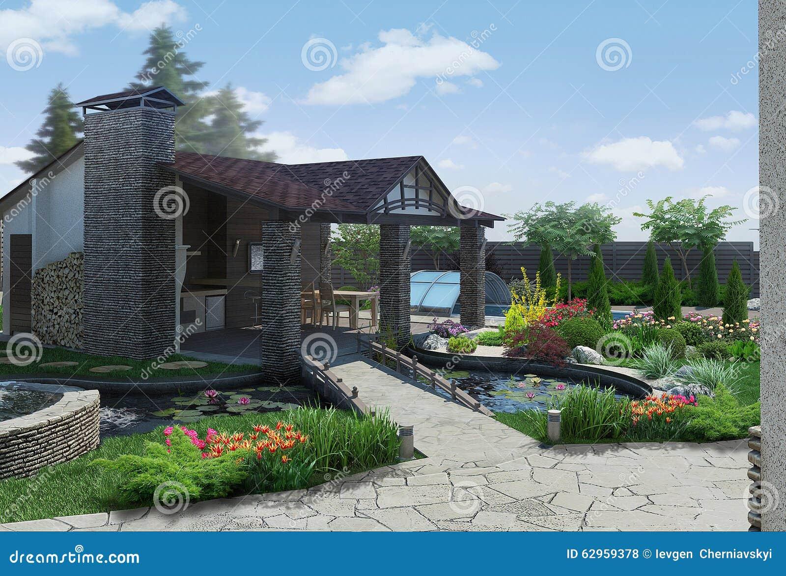 Landscaping decorative pond and garden pavilion 3d render for Garden pond design software free download