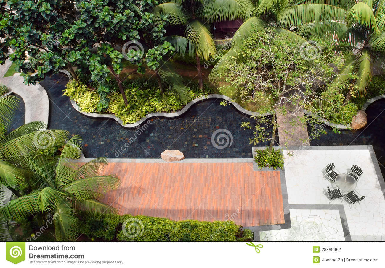 Landscaping Design Garden amp Pool Stock Photography