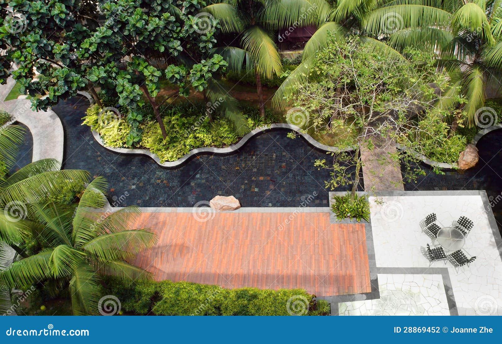 Landscaping Design Garden amp Pool Stock Photography
