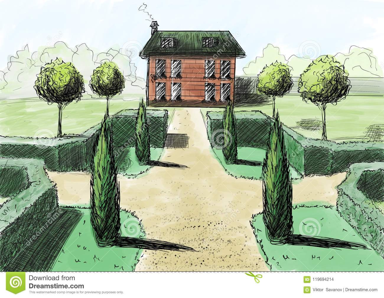 Download Landscaping Drawing House Garden Cottage The View From Top Stock Illustration