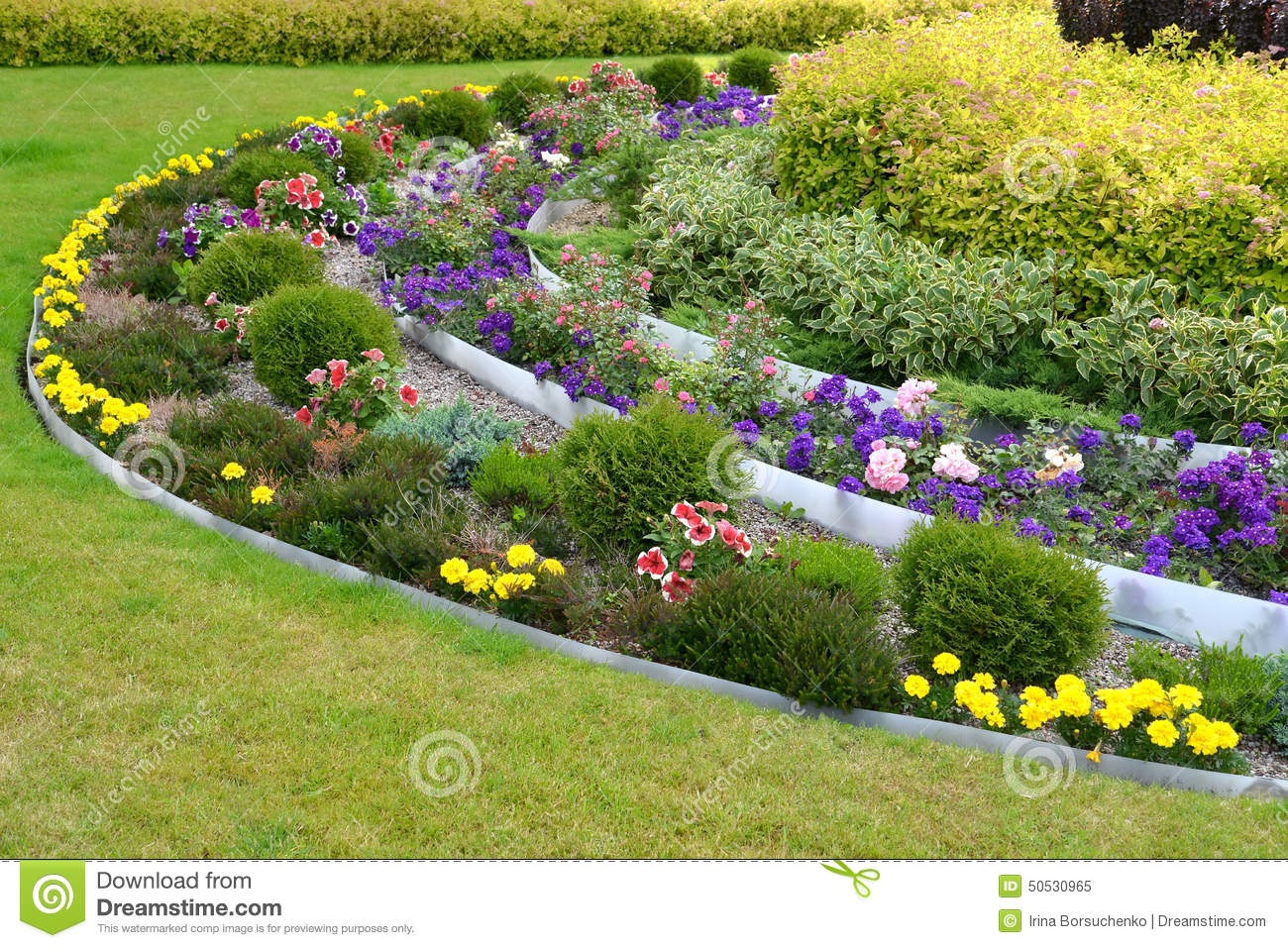 Landscaping With Flowers And Bushes Stock Image Image Of Bush