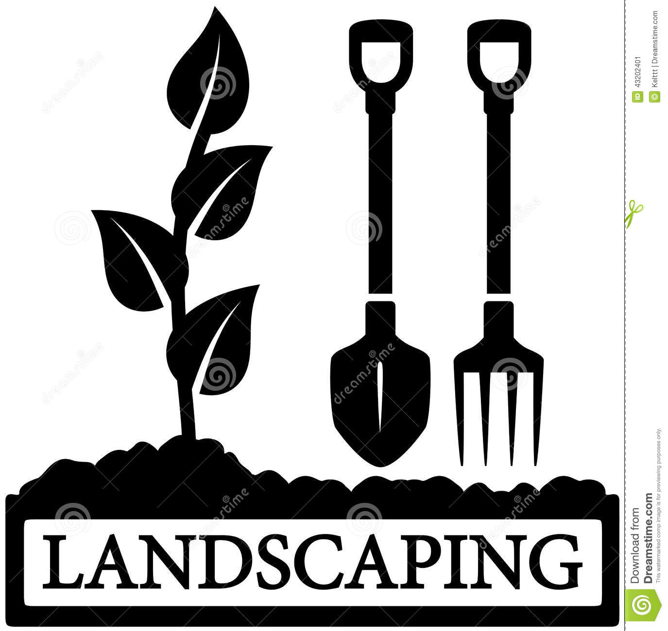 Landscaping icon with sprout and gardening tools stock for Gardening tools vector