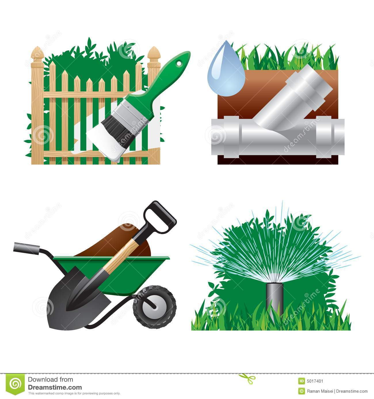 Landscaping icons stock vector image of building home for Garden maintenance tools