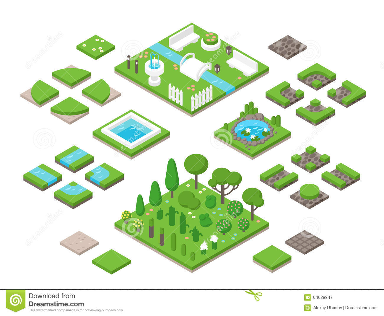 Isometric landscape design elements vector illustration for Landscape design icons