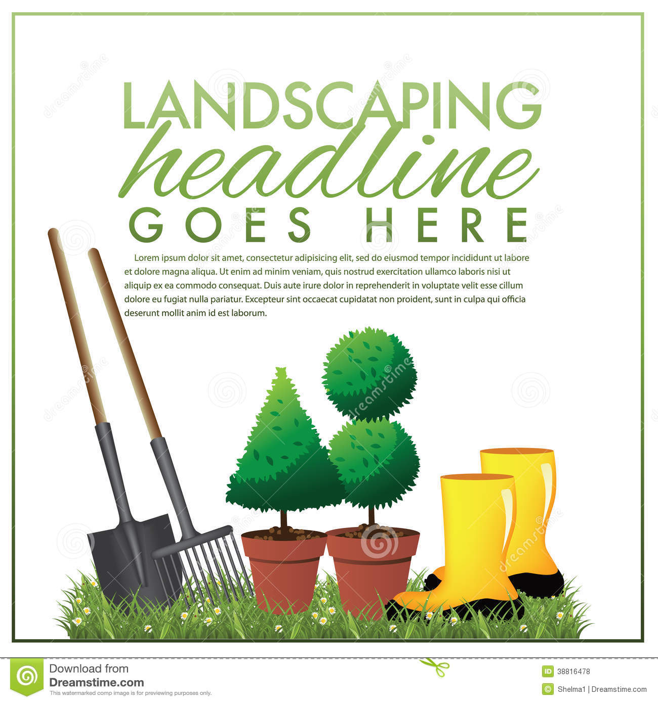 Landscaping Marketing Template Stock Illustration - Image: 38816478