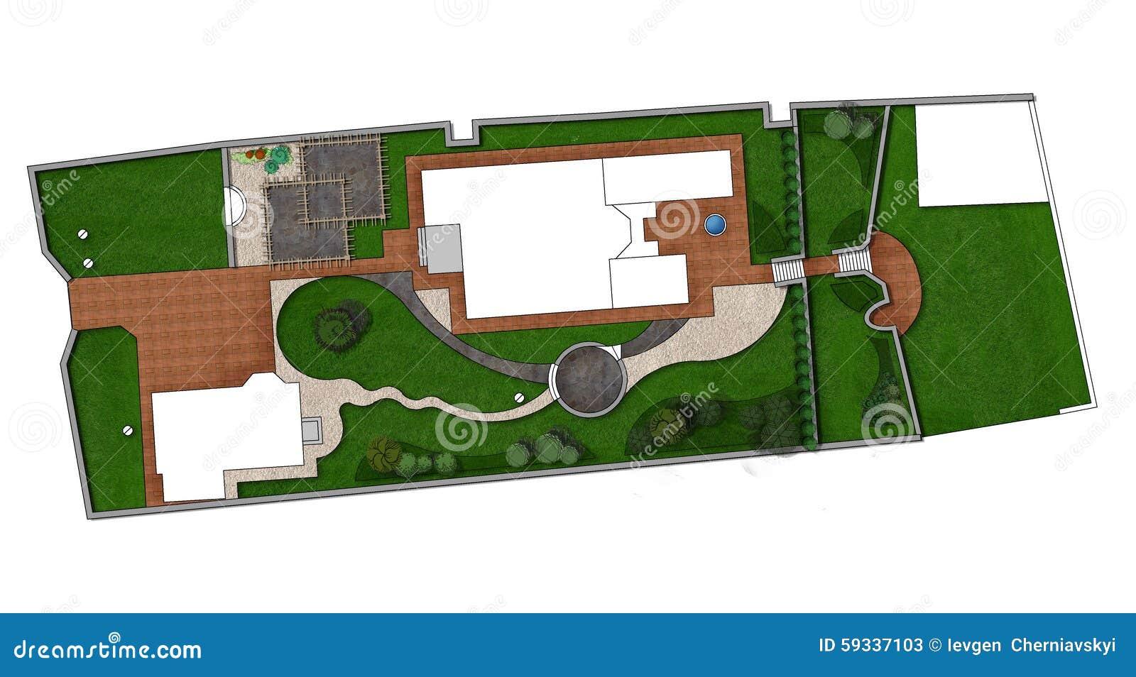 Landscaping Master Plan 2d Sketch Stock Illustration