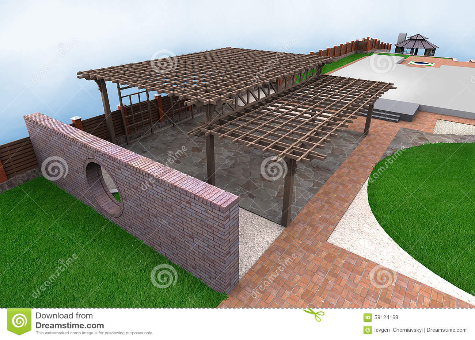 Download Landscaping Multi Level Pergola, 3D Render Stock Illustration    Illustration Of Rendering, Paver