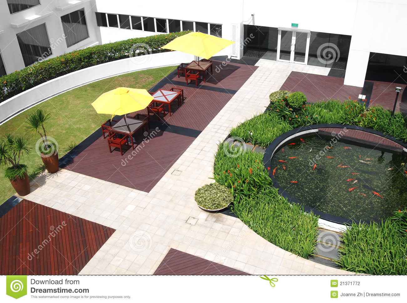 landscaping office courtyard garden stock photography