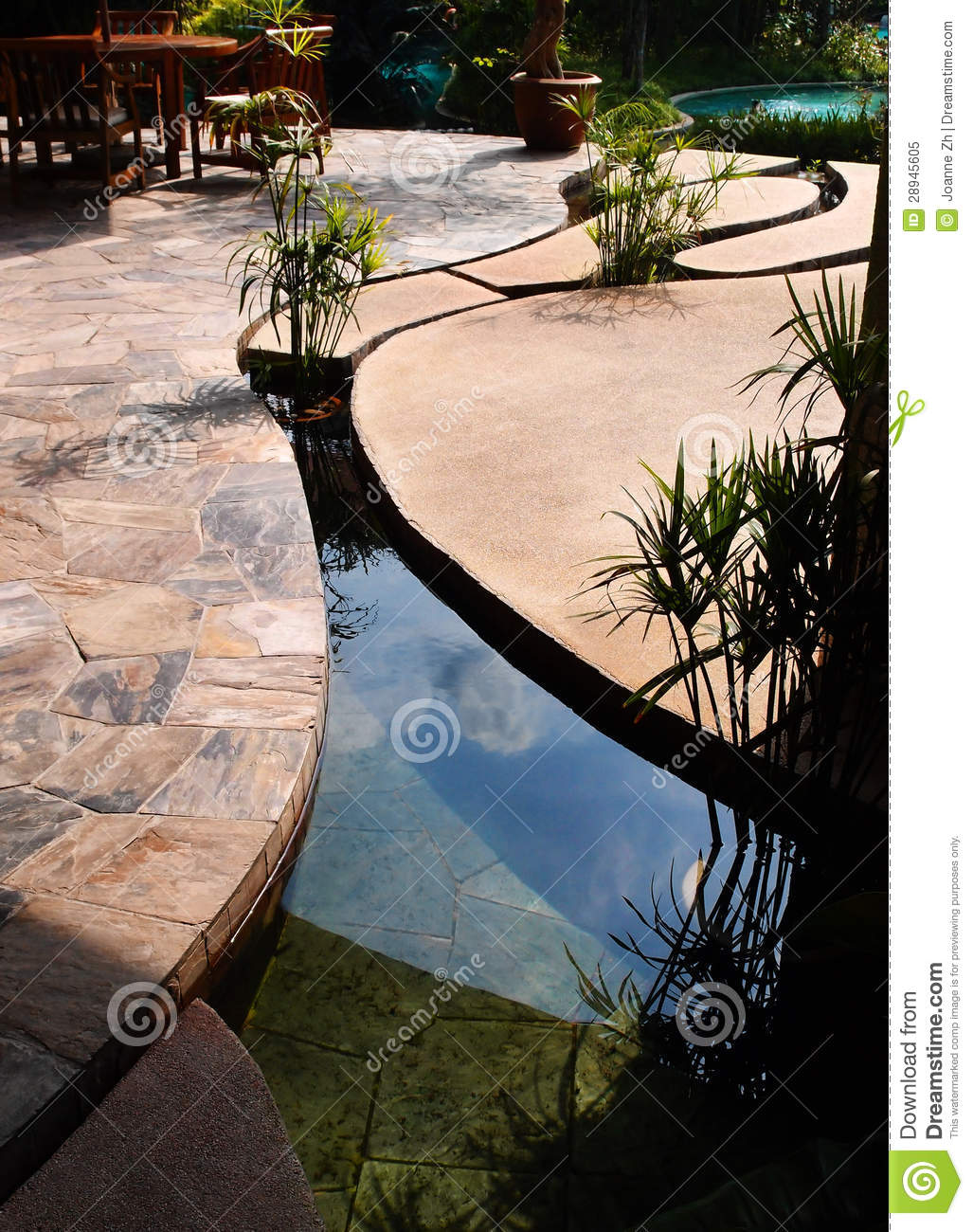 Landscaping - Tropical Resort Concrete Pond Stock Image ...