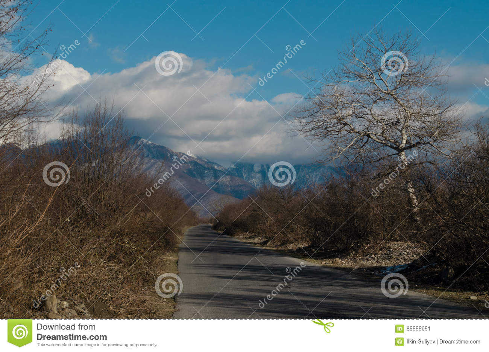 Landschaft der Asphaltstraße weg durchlaufend in die Gebirgspässe die Bäume, die Dörfer und die Waldplätze