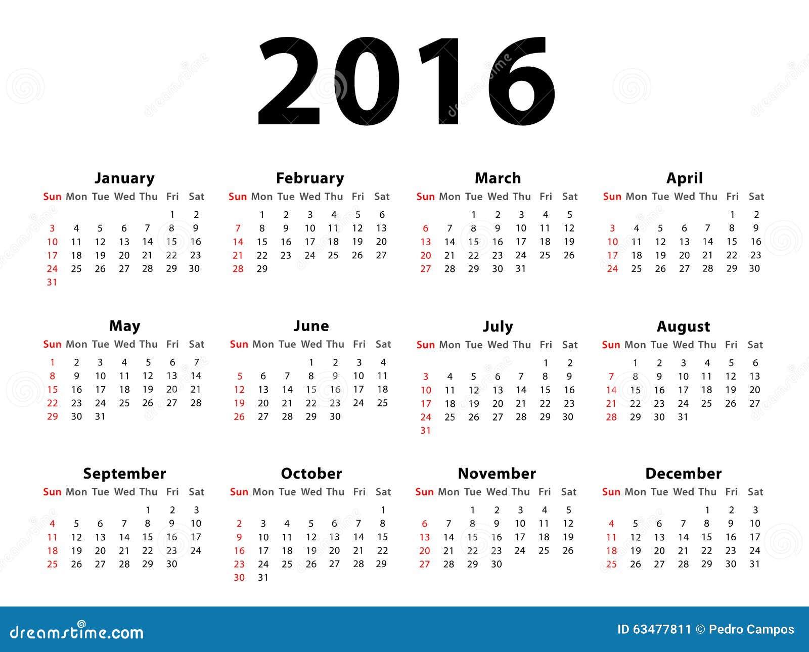 landschaft des kalender 2016 stock abbildung. Black Bedroom Furniture Sets. Home Design Ideas