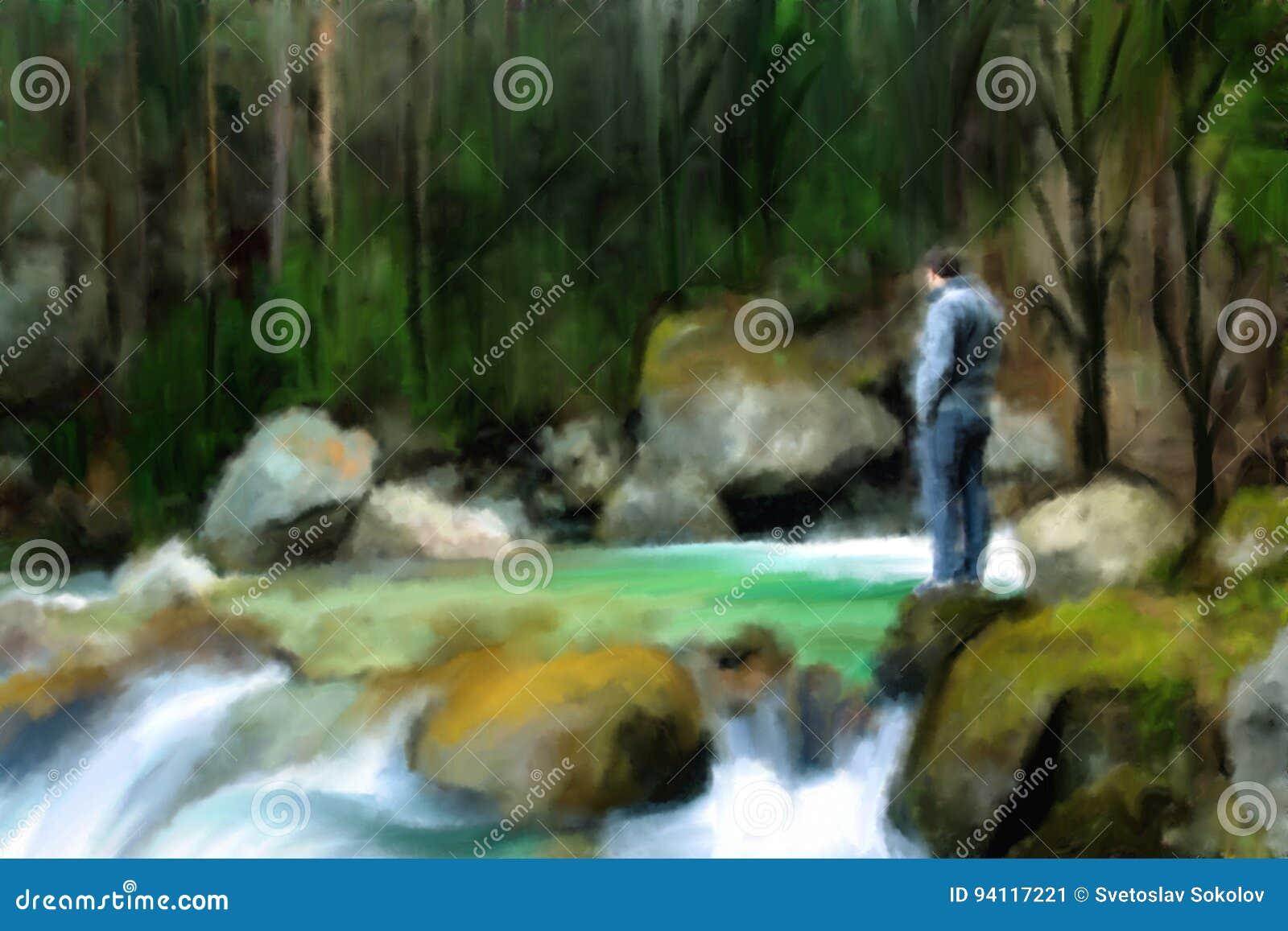 Landschaft: Mann in dem Fluss im tiefen Wald