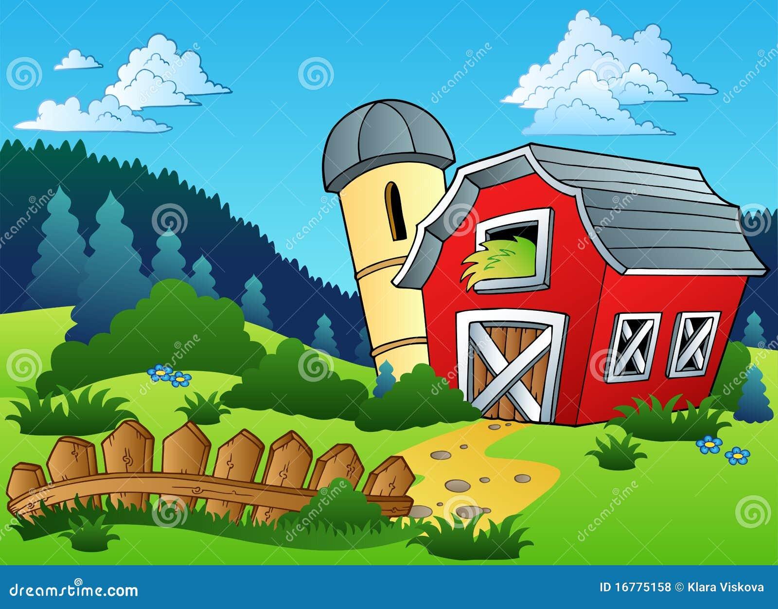 Landschaft mit Bauernhof und Zaun