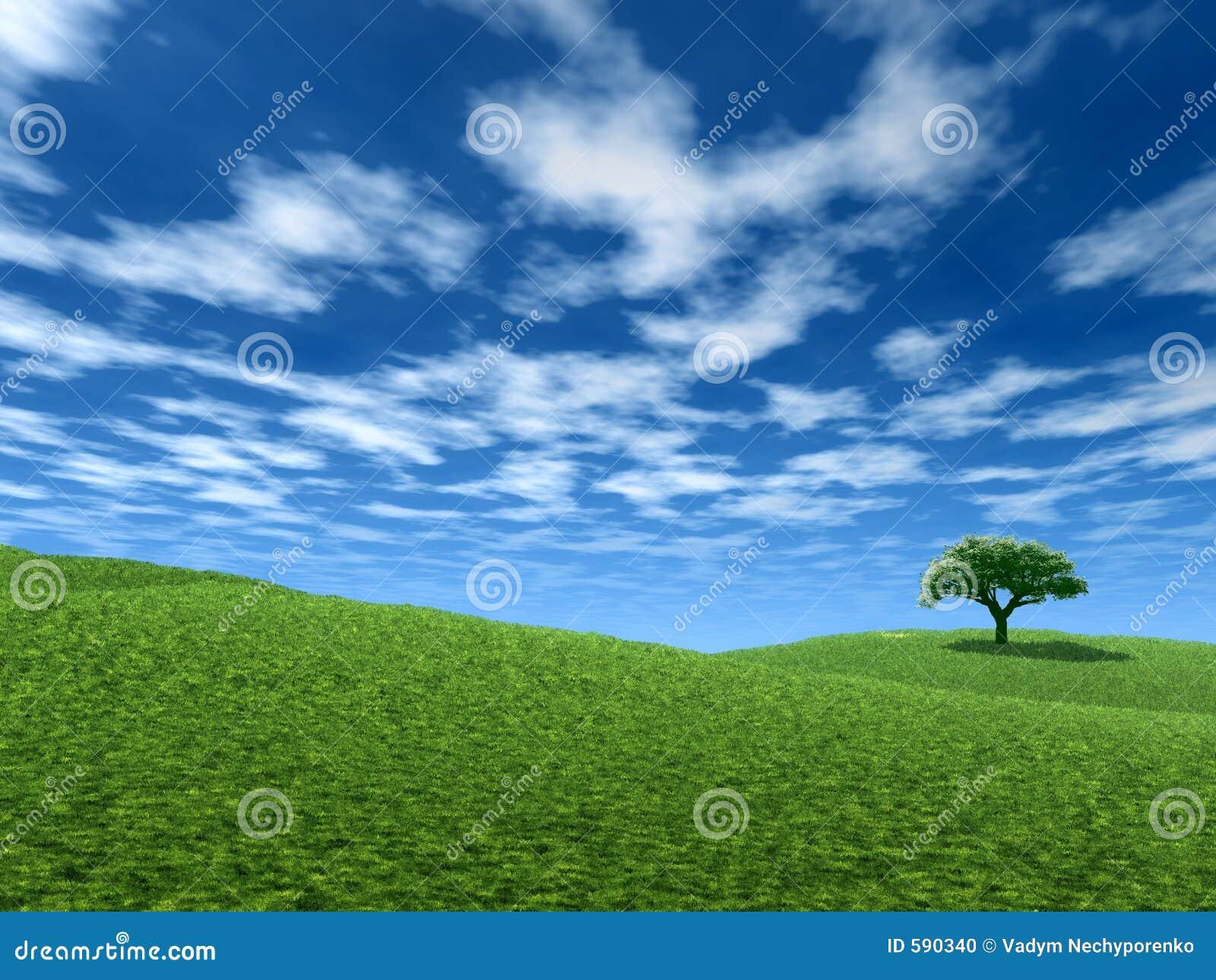 Landschaft mit einsamem Baum