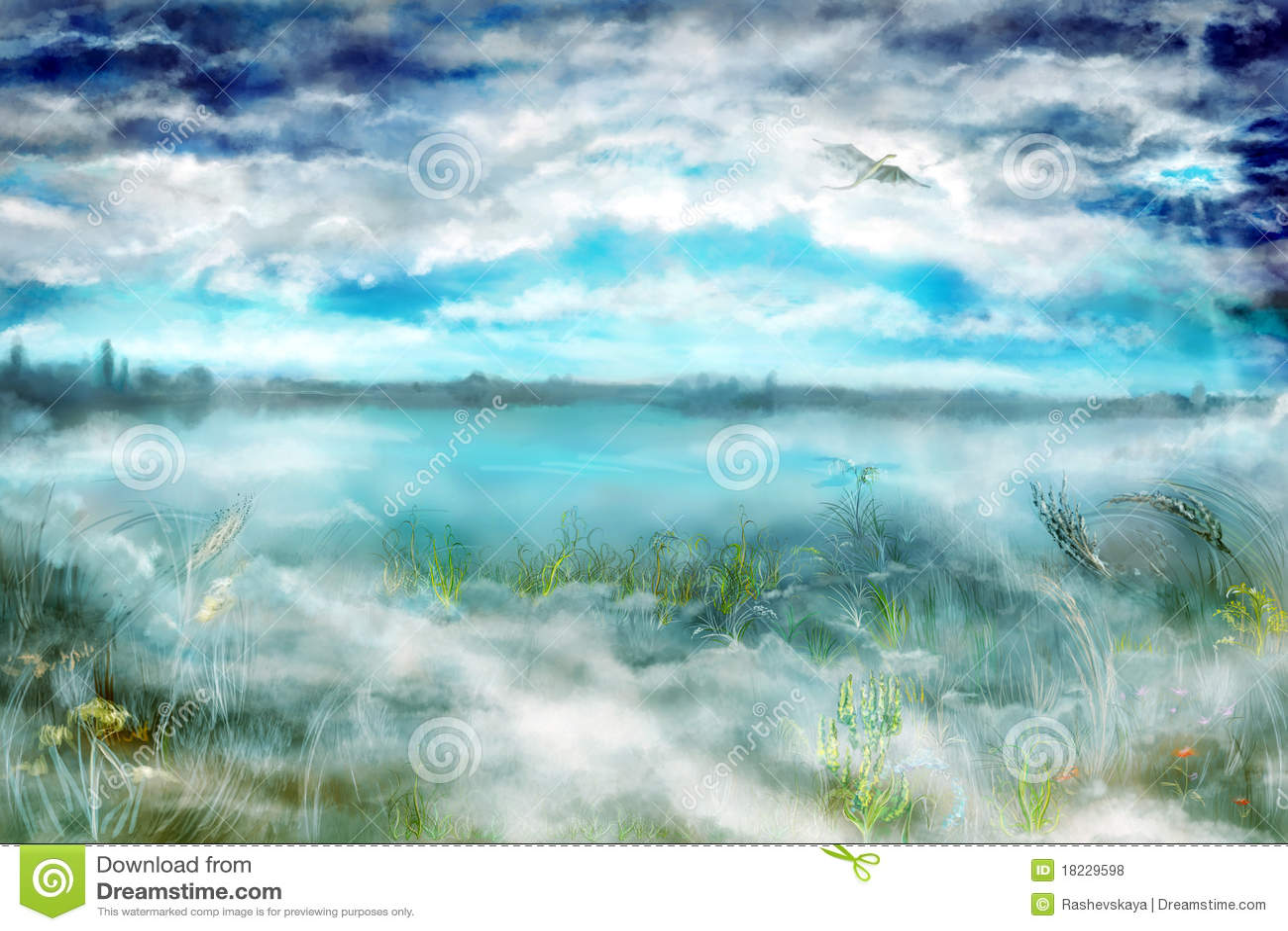 Landschaft mit Nebel und Drachen