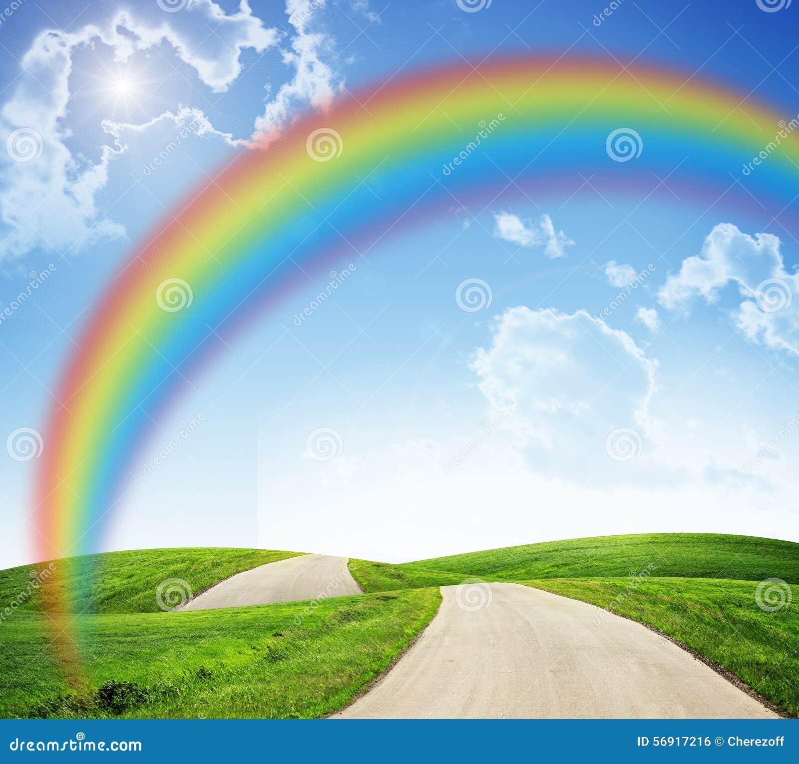 landschaft mit regenbogen und stra 223 e stockfoto bild 56917216