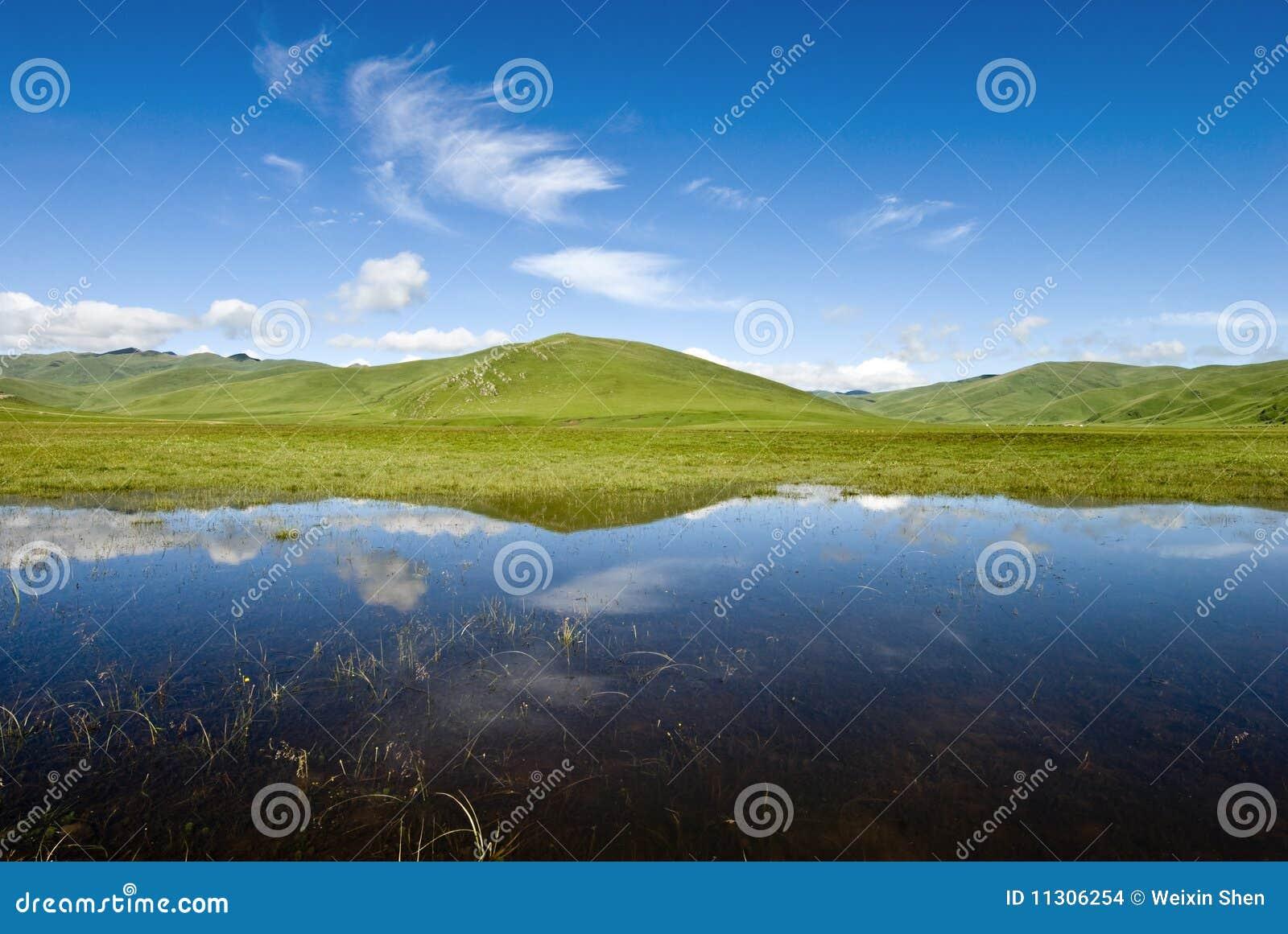 Landschaft mit vollkommener Reflexion auf dem Wasser