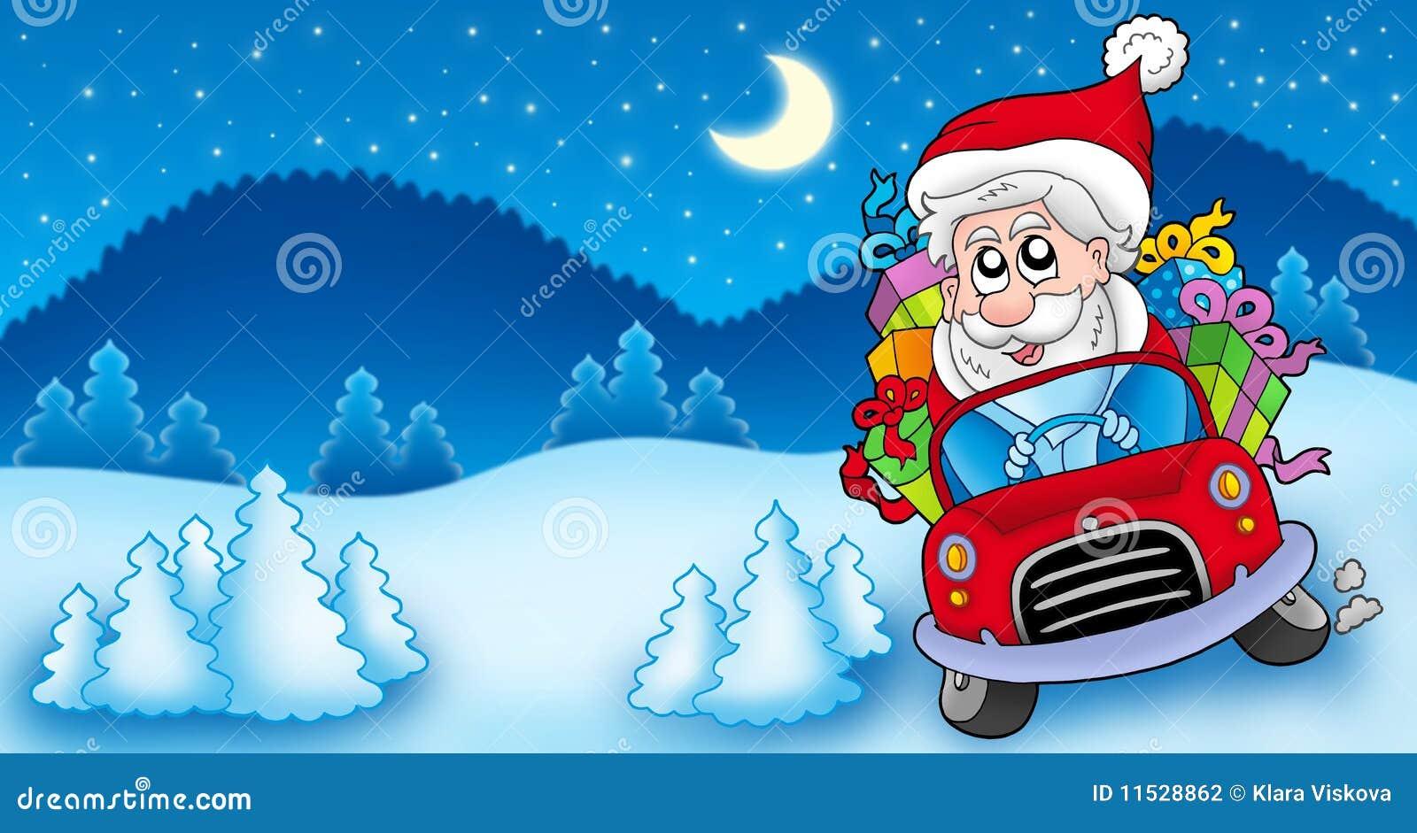 Landschaft Mit Weihnachtsmann Der Auto Antreibt Stock Abbildung