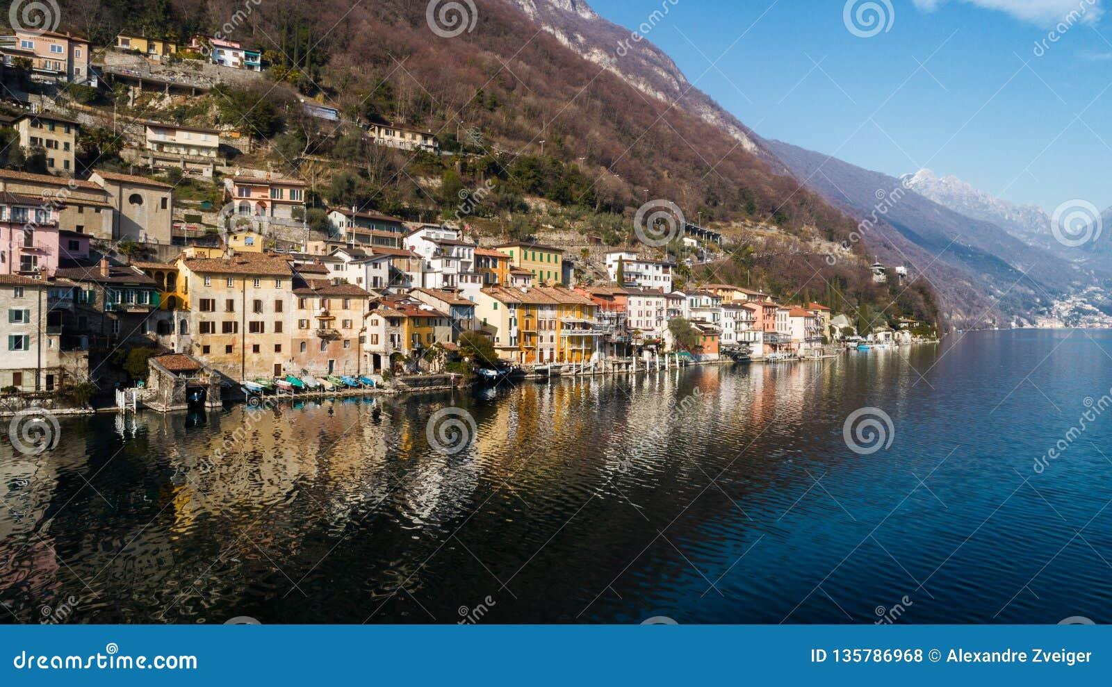 Landschaft von See Lugano, Tessin, Gandria