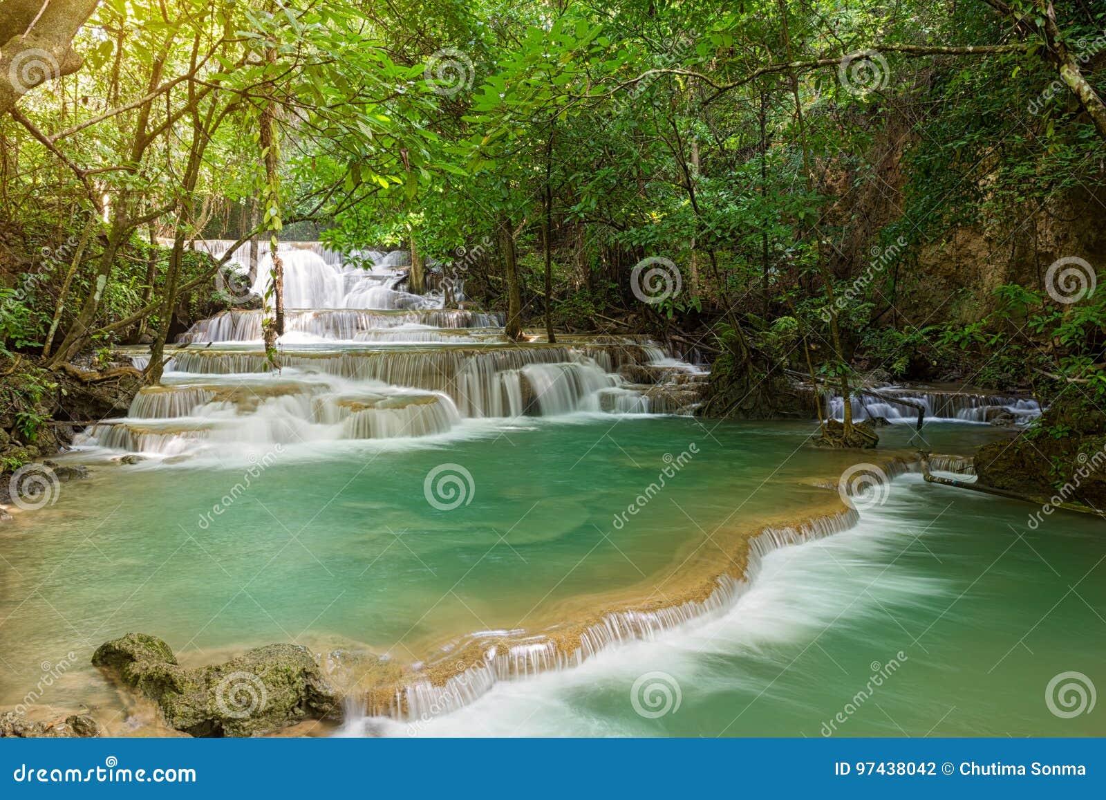 Landschafts-Huai Mae Kamin-Wasserfall Srinakarin-Verdammung in Kanchanaburi