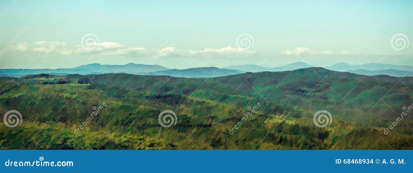 Landschaftspanoramablick eines toskanischen Tales