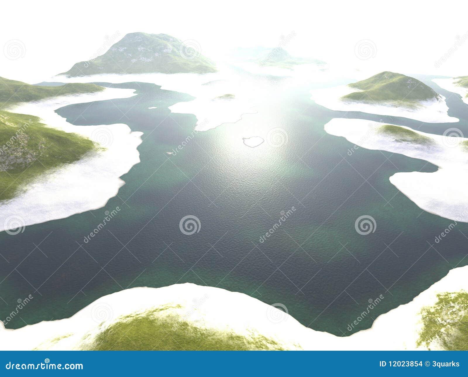 Digitale visualisatie van een landschap