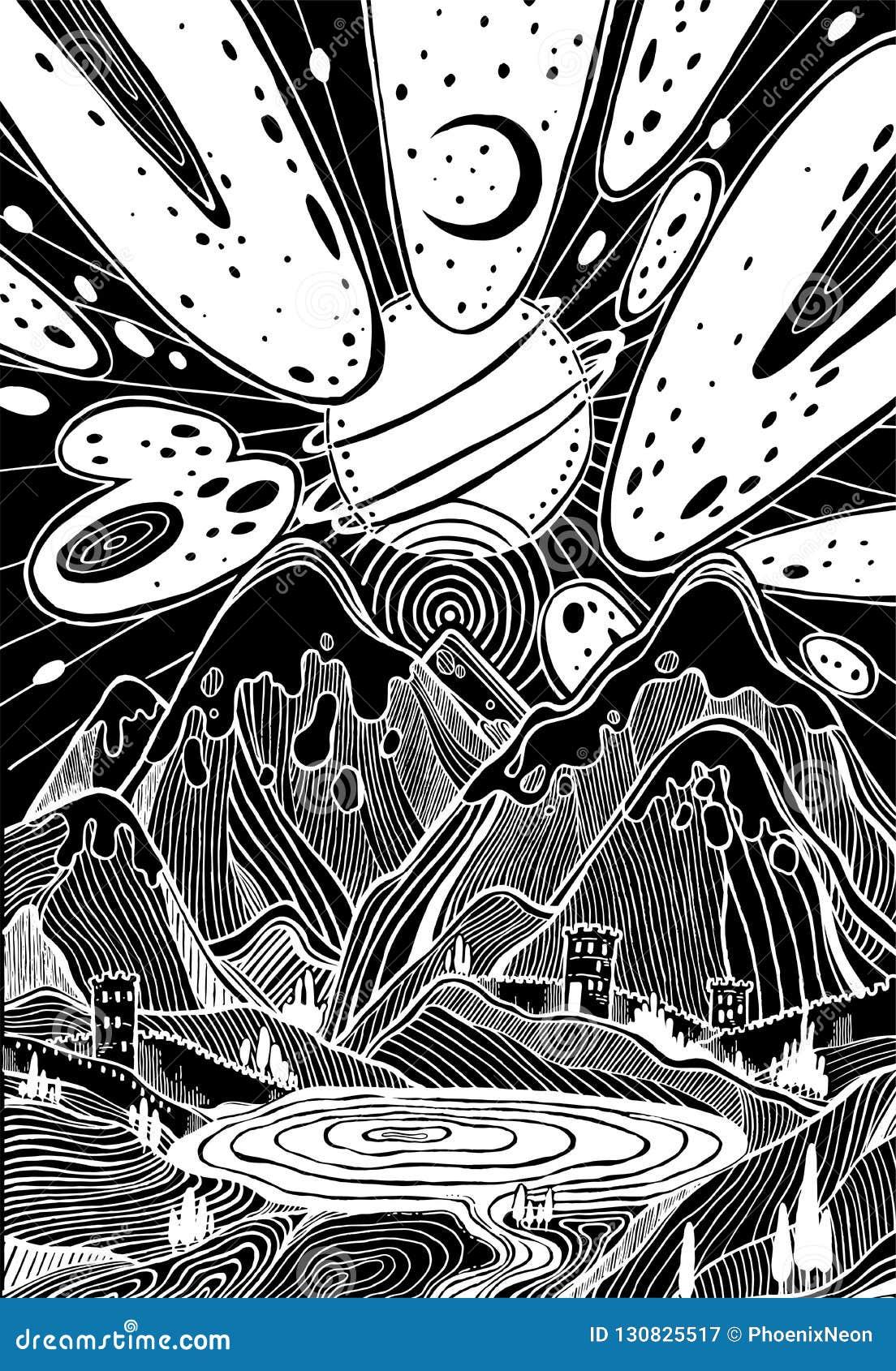 Landschap met bergen onder meteoorstaking