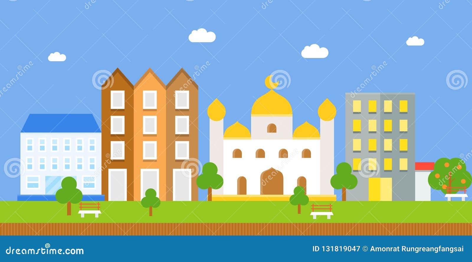 Landschap met masjid en de bouw, vlak pictogram