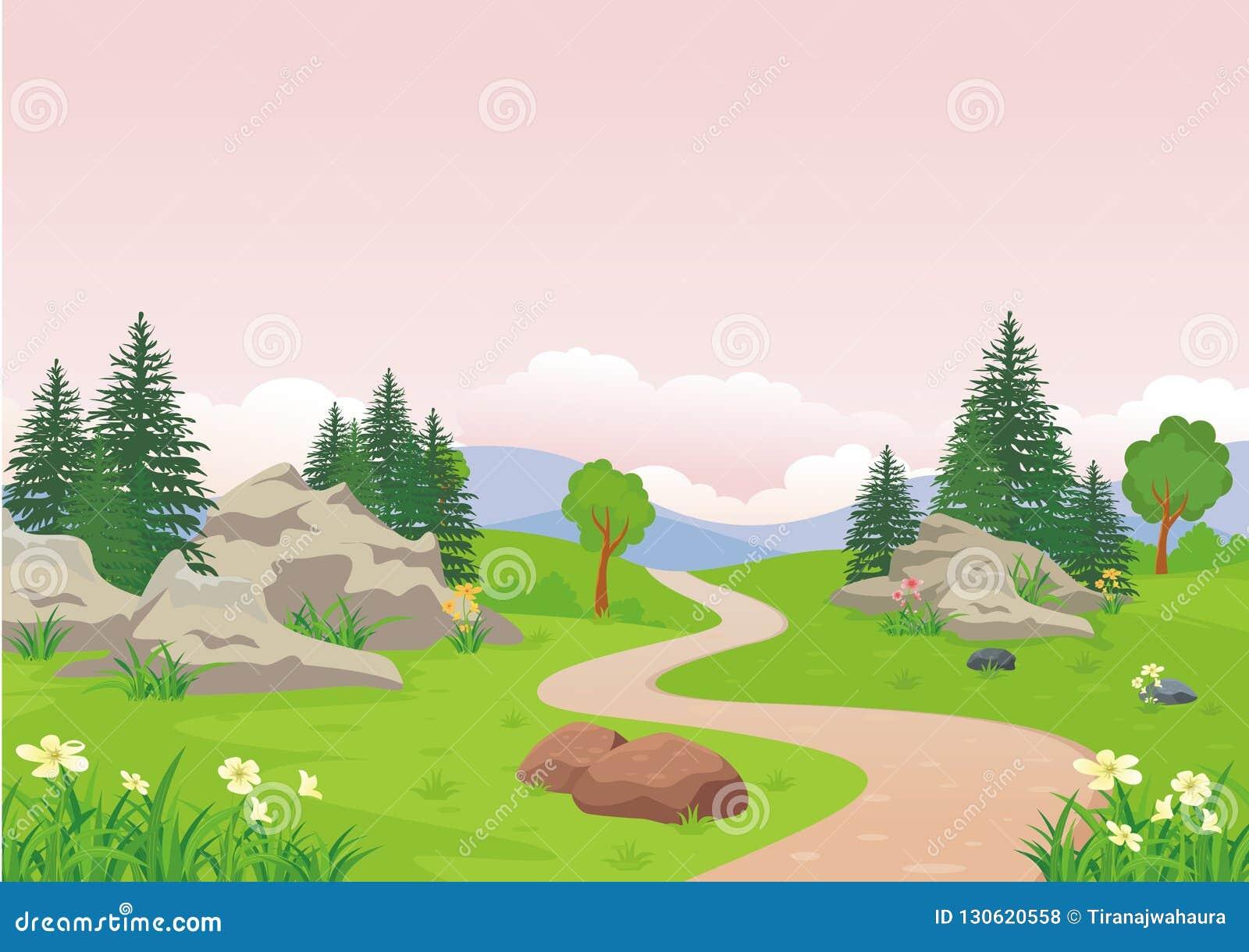 Landschap met rotsachtige heuvel, het Mooie en leuke ontwerp van het landschapsbeeldverhaal