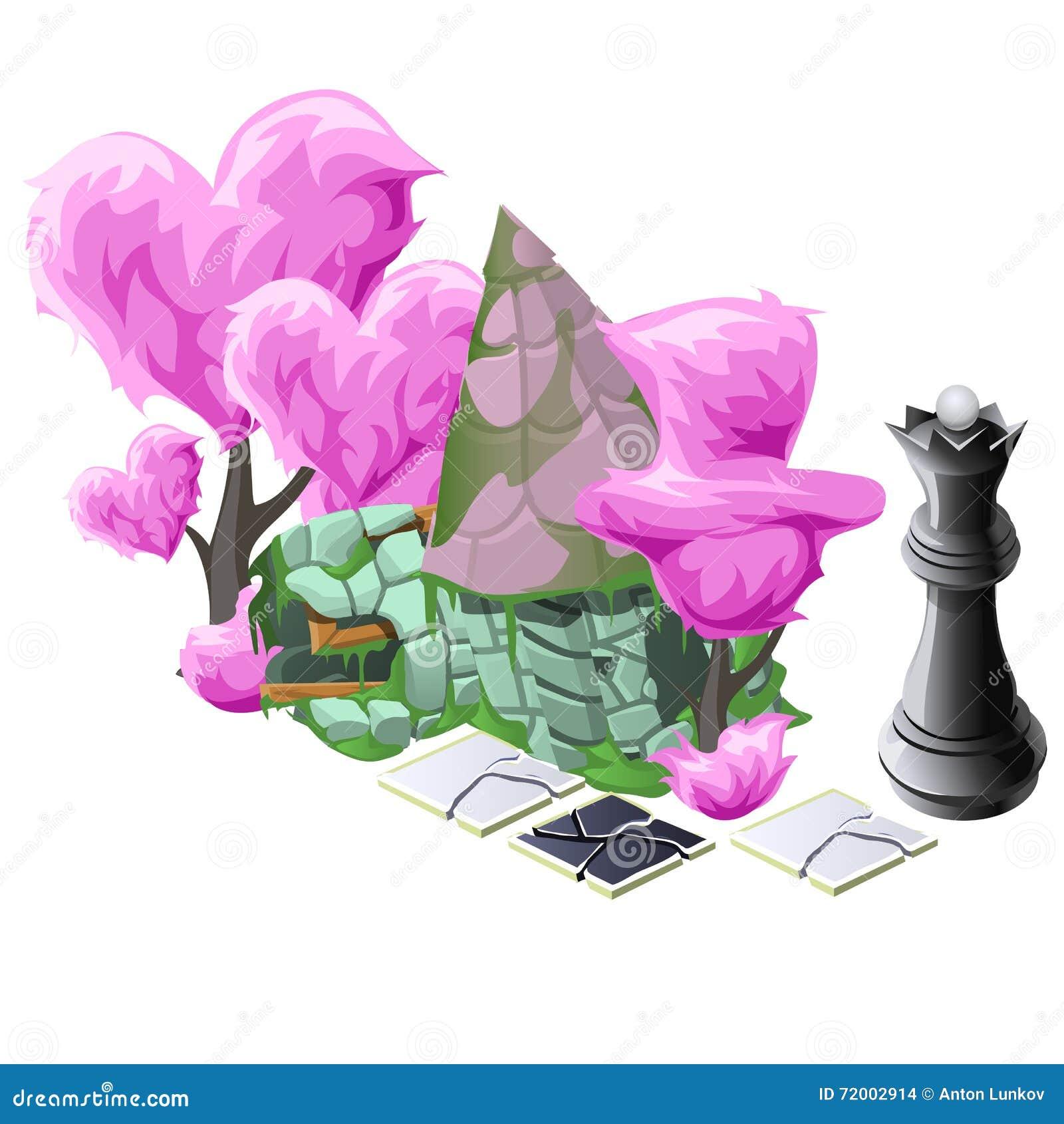Landschap met roze topiary bomen, schaak en huis