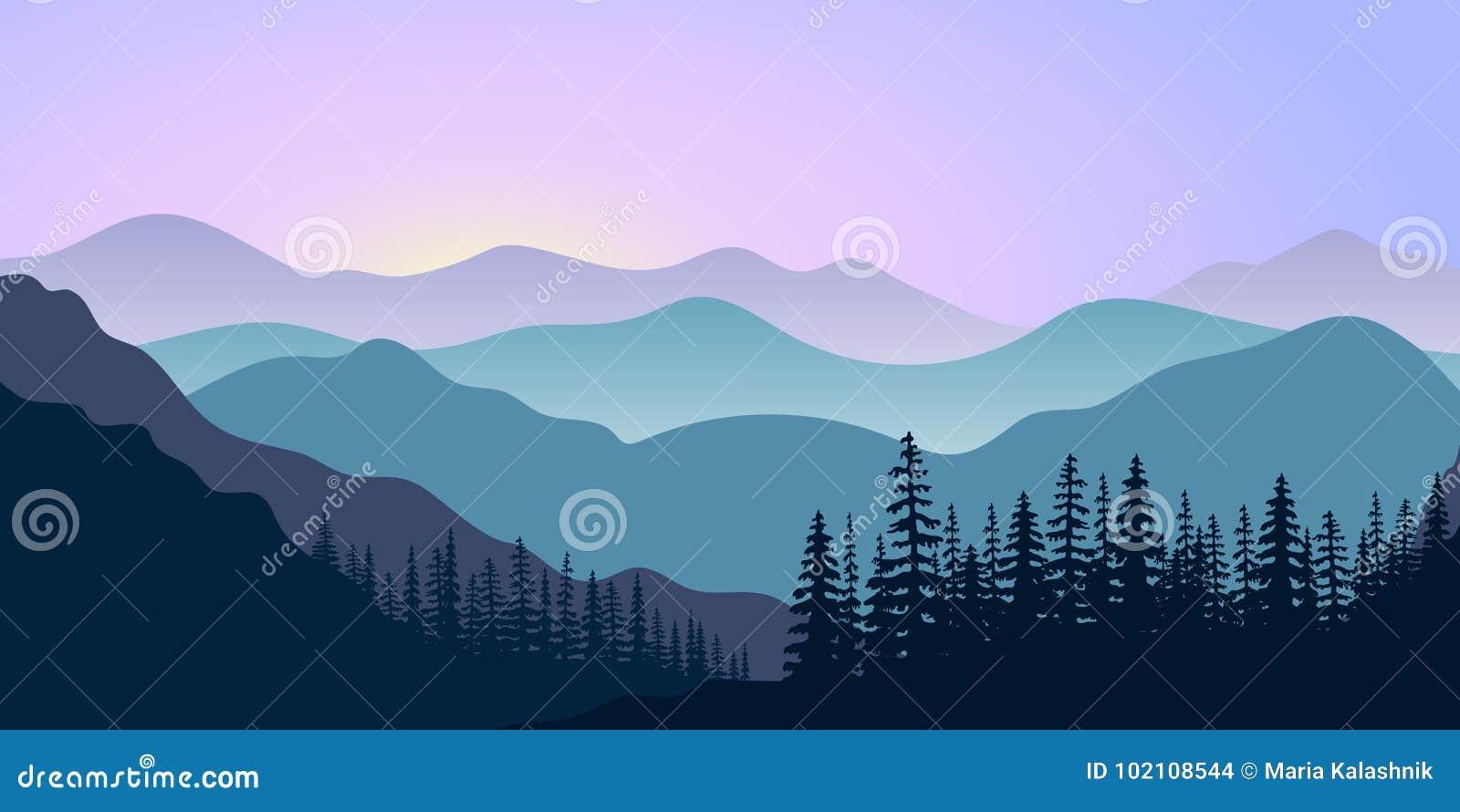Landschap met silhouetten van bergen en bos bij zonsopgang Vector illustratie