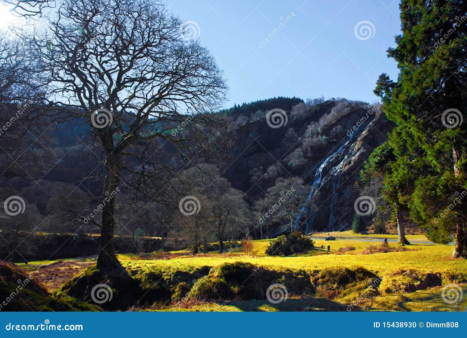 Landschap van de bergen en de waterval