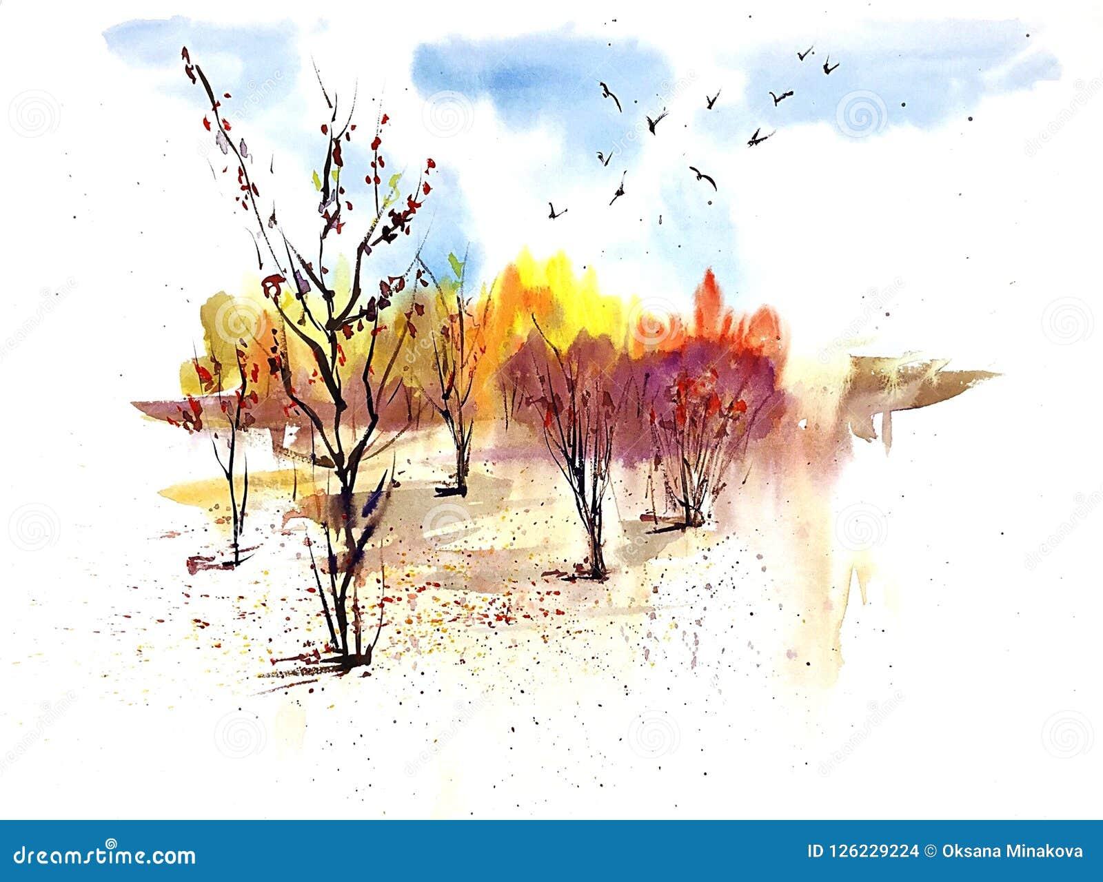 Landschap van de waterverf het zonnige herfst met gouden bomen en blauwe hemel