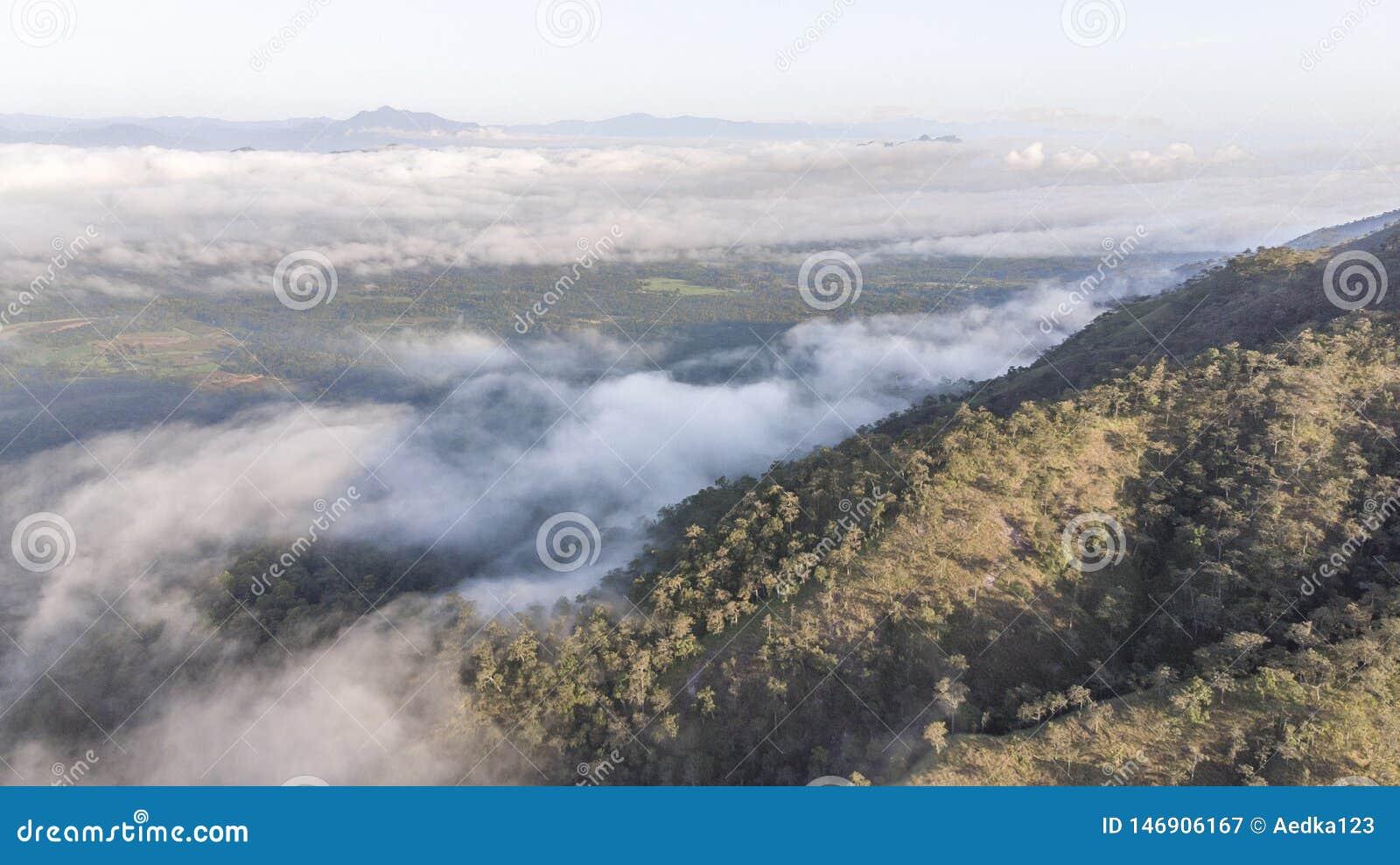 Landschap van Ochtendmist met Berglaag bij het noorden van Thailand