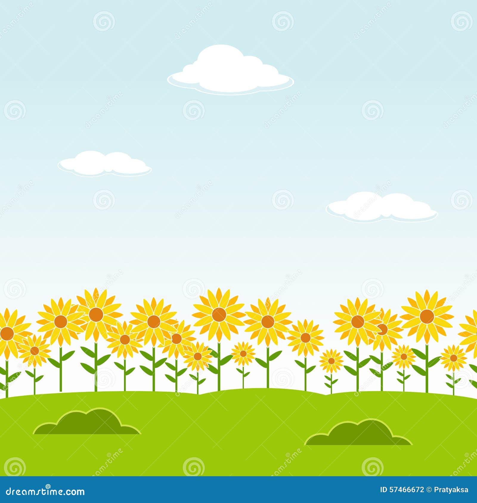 Landschaps Naadloze Achtergrond De naadloze achtergrond van de tuin De achtergrond van de zonnebloemtuin De achtergrond van het b