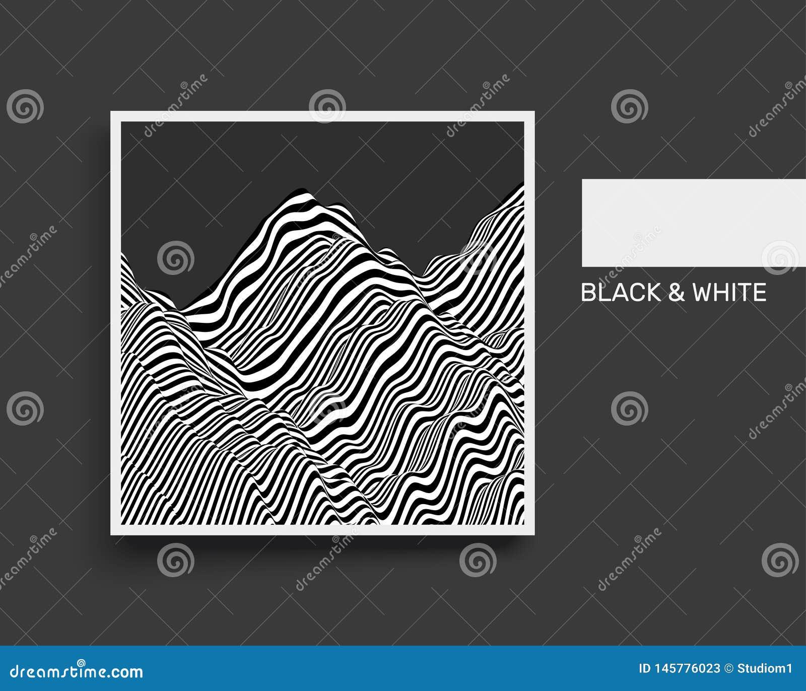 Landschapsachtergrond terrein Zwart-witte achtergrond Patroon met optische illusie Het malplaatje van het dekkingsontwerp 3d vect