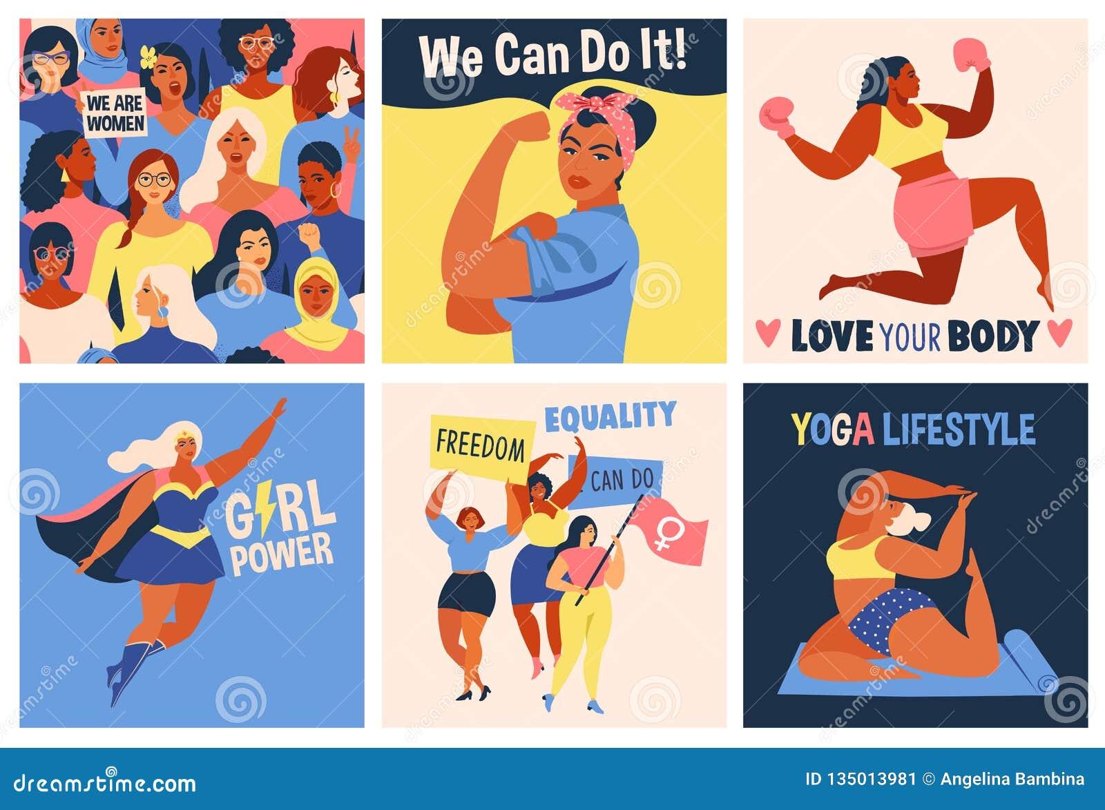 Landskampkvinna dag Vi kan göra det affischen stark flicka Symbol av kvinnlig makt, kvinnarätter, protest, feminism