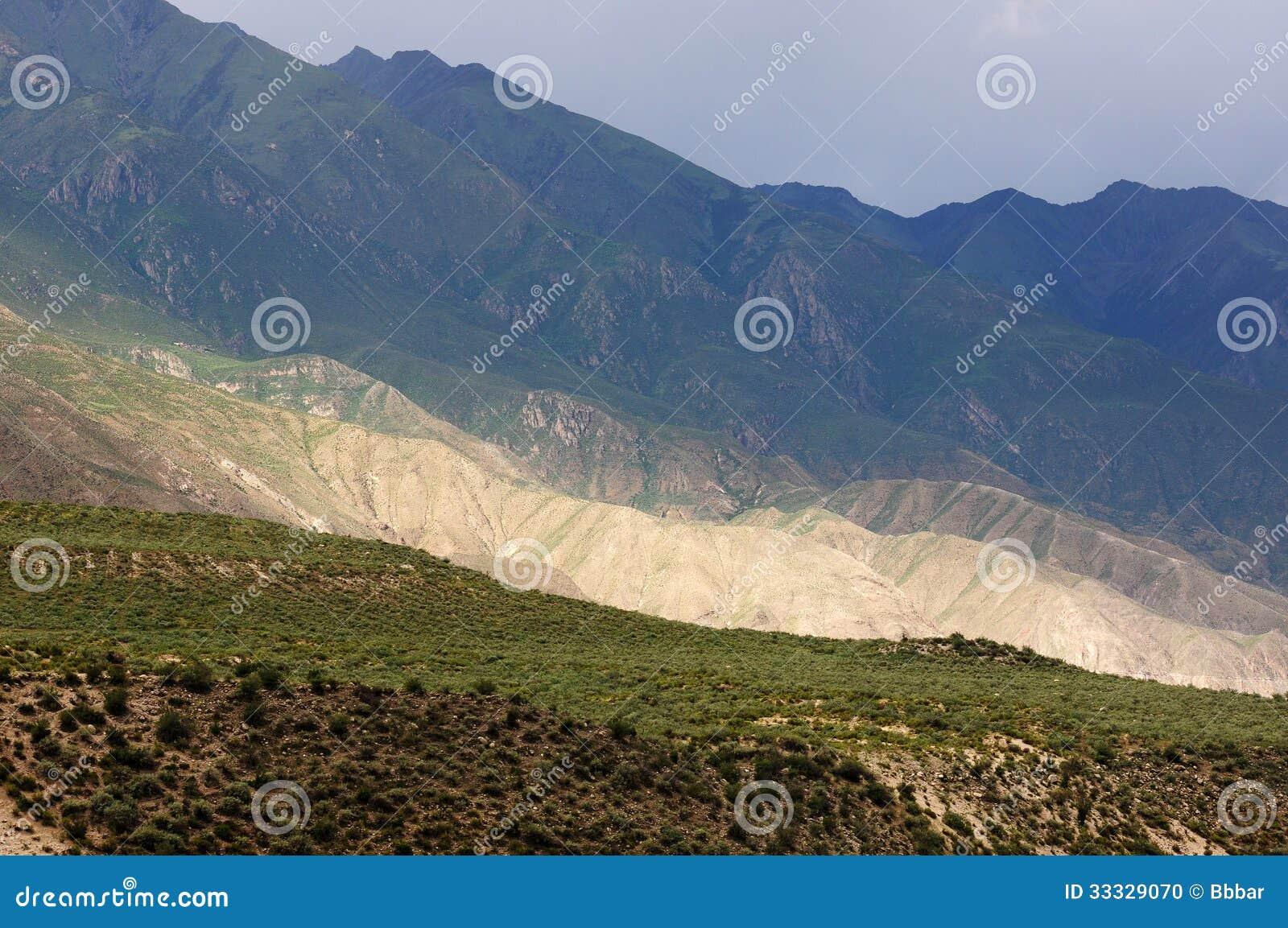 Landskap av berg i Tibet