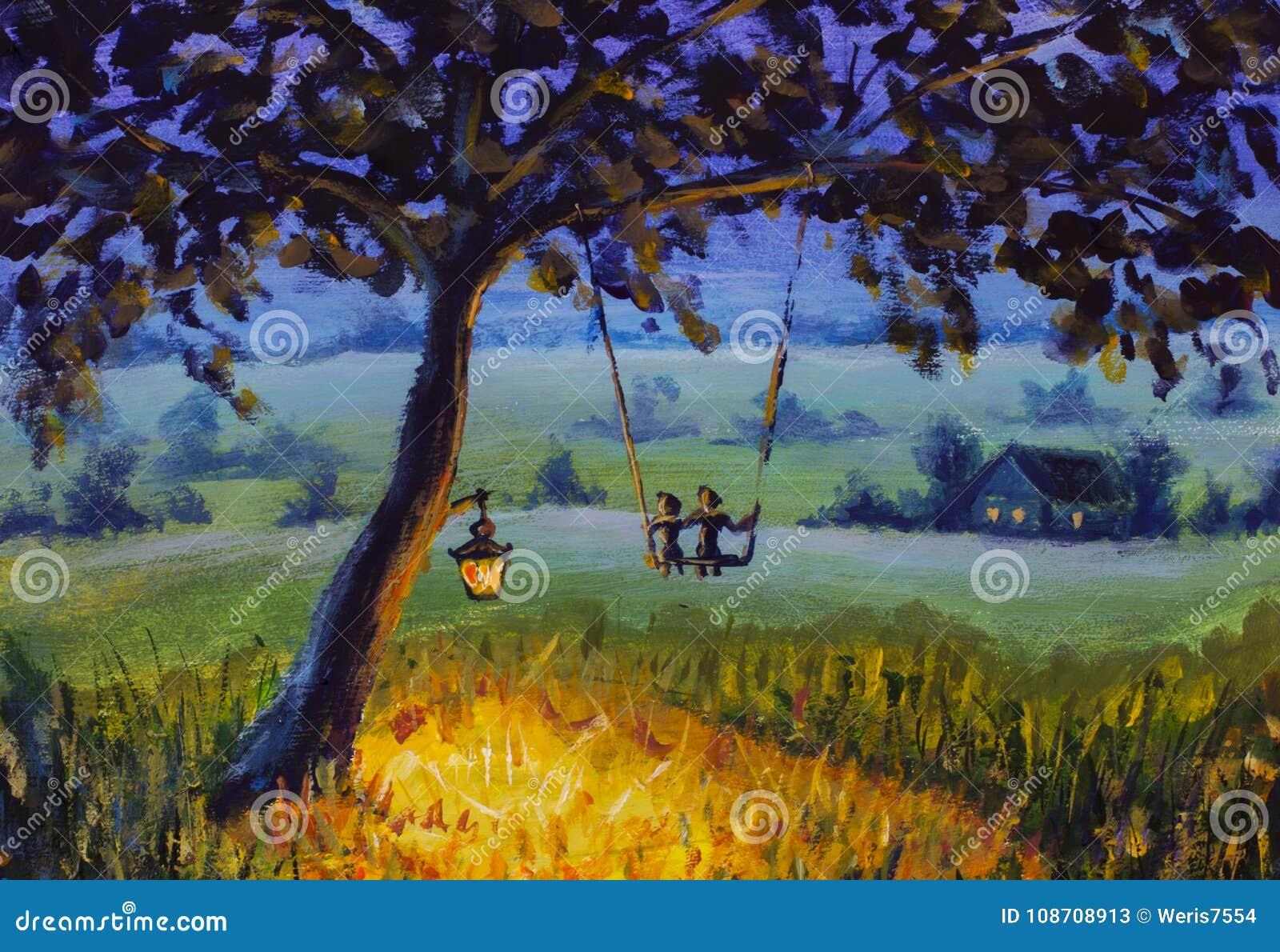 Landskap för afton för olje- målning lantligt, en lykta som hänger på ett träd, en grabb med en förälskad ritt för flicka på en g