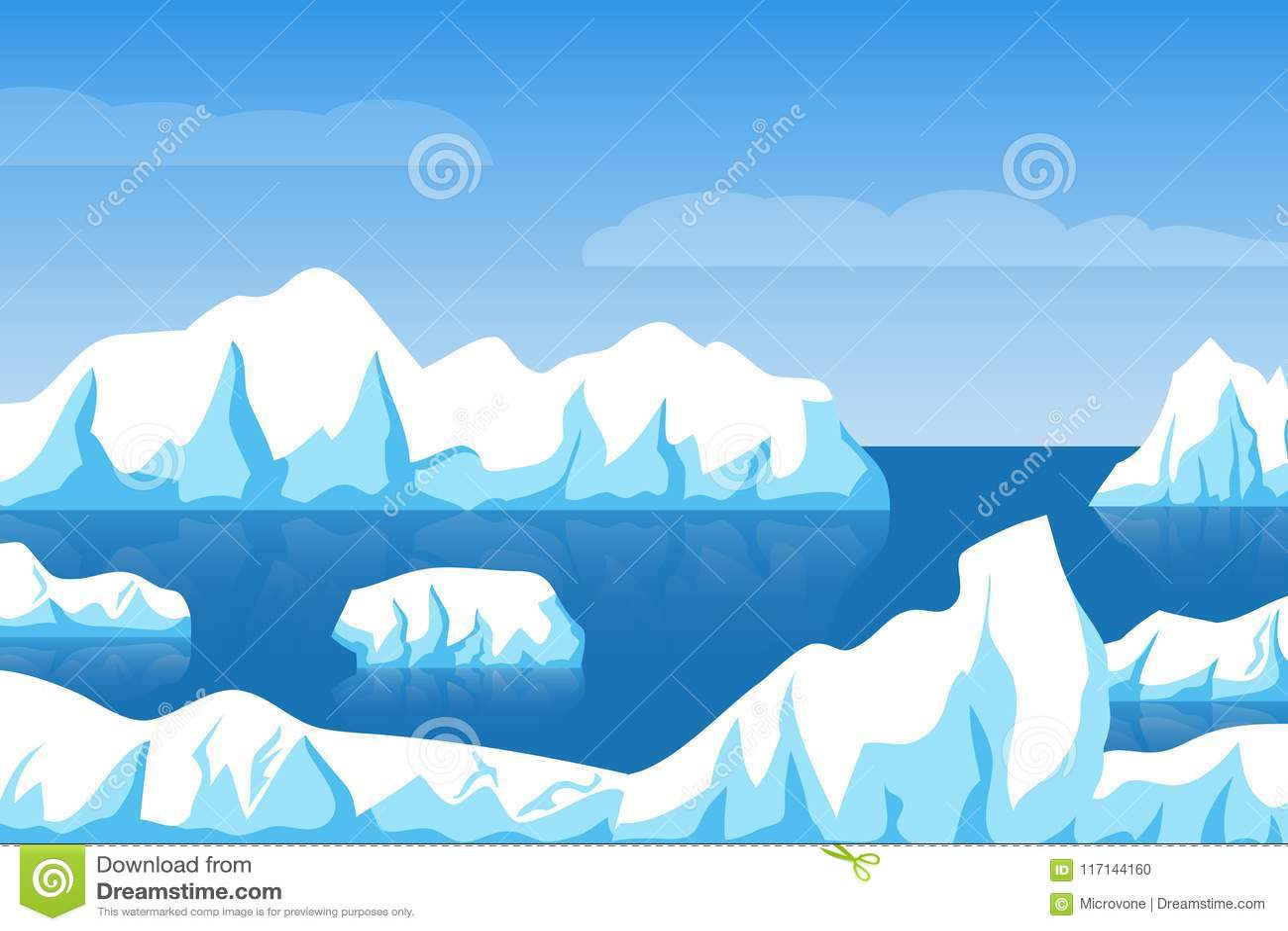 Landskap för is för arktisk eller för antarctic för tecknad filmvinter polart med isberget i havsvektorillustration