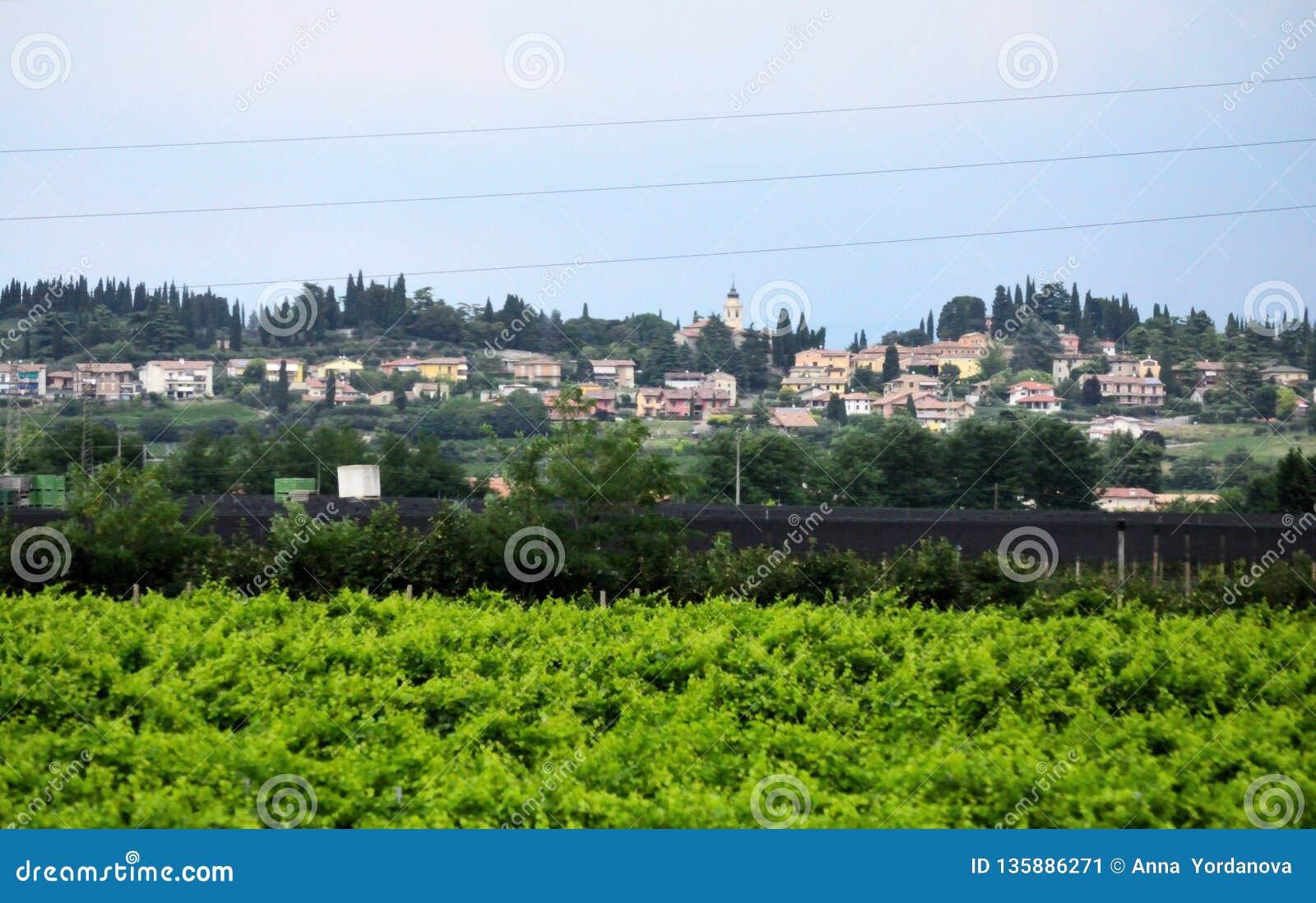 Landskap för bergstoppbylandskap av Bergamo Lombardy Italien