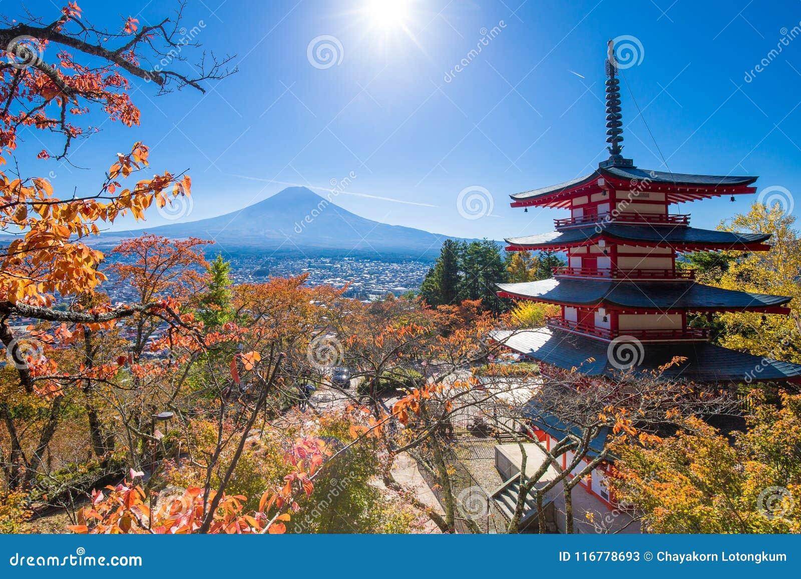 Landskap för Fuji vulkanberg i höst i den mest härliga sikten
