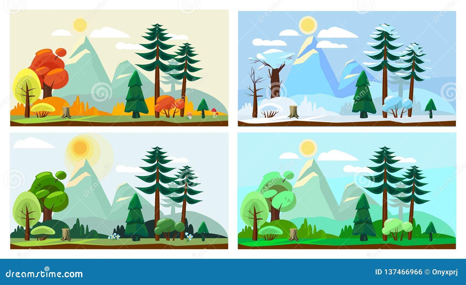 Landskap för fyra säsong Bakgrund för tecknad film för vektor för landskap för natur för väder för vinter för vårhöstsommar