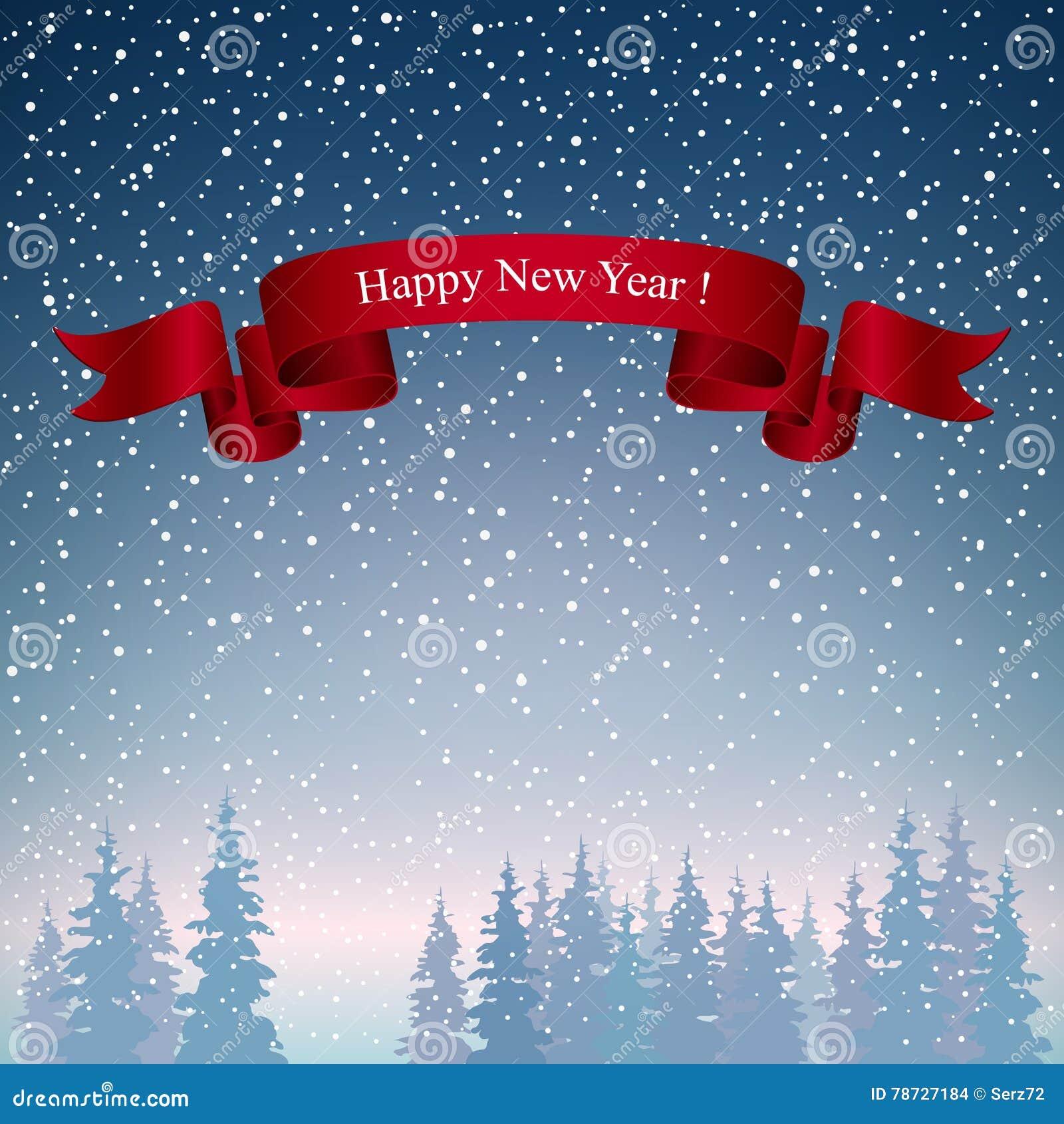 Landskap för lyckligt nytt år i mörker - blåa skuggor