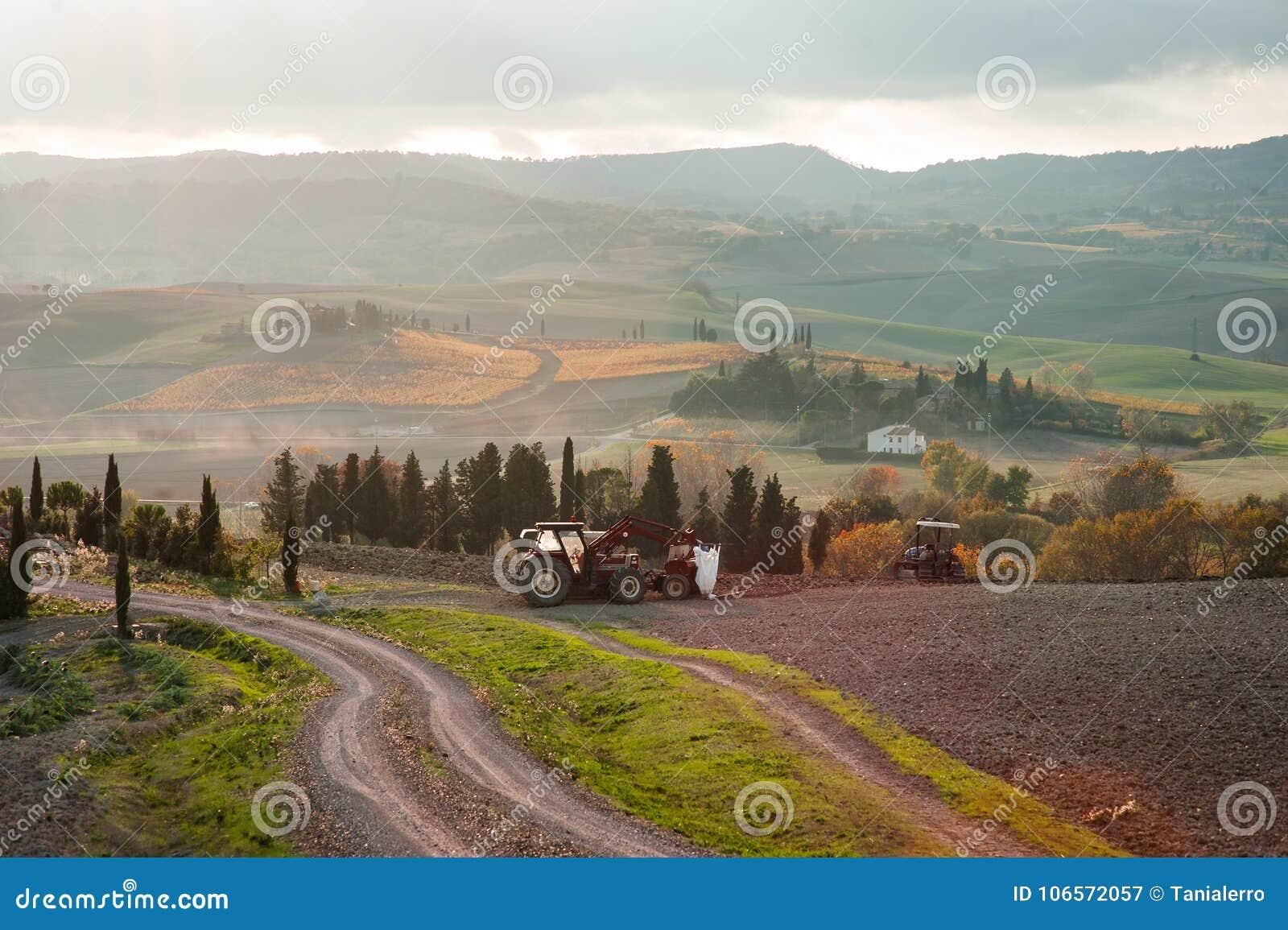 Landskap för Tuscan jordbruksmarkbygd, Tuscany, Italien