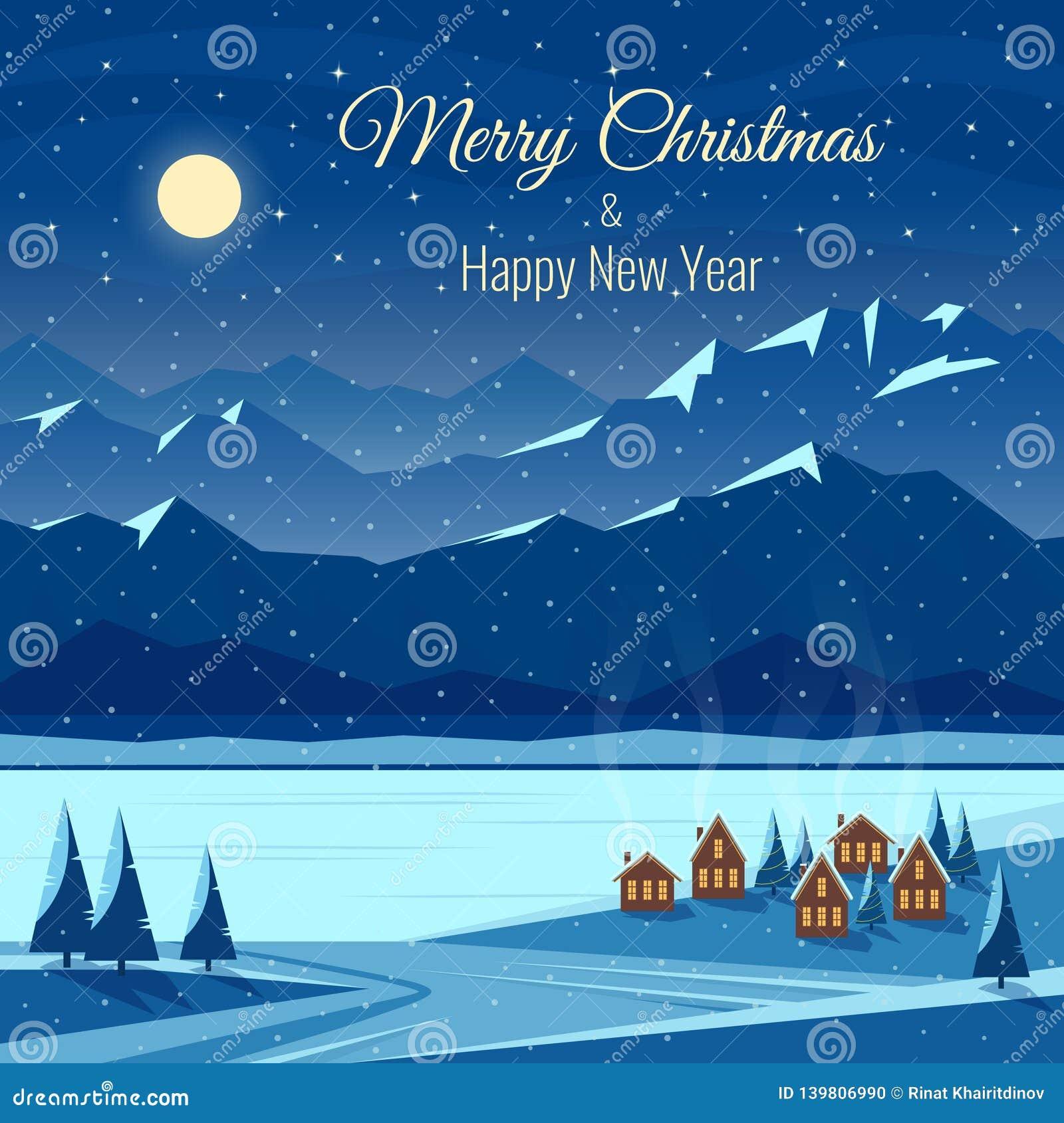 Landskap för vinternattsnö med månen, berg nytt år för berömjul Hälsningkort med text