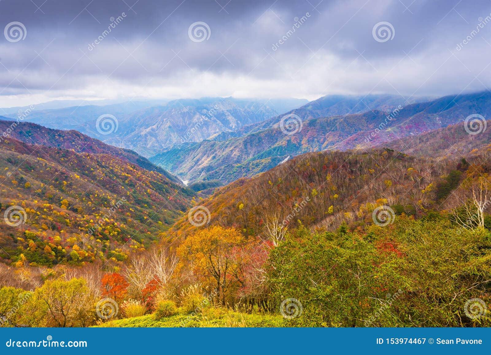 Landskap i den Nikko nationalparken i Tochigi, Japan